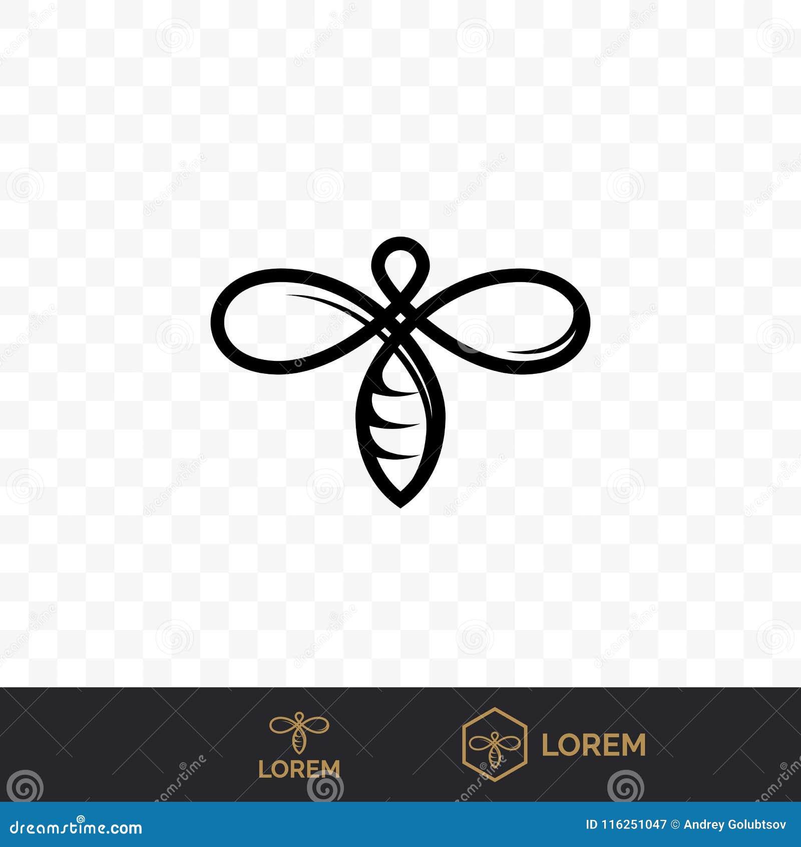 Ligne icône de vecteur d abeille pour l apiculture de miel