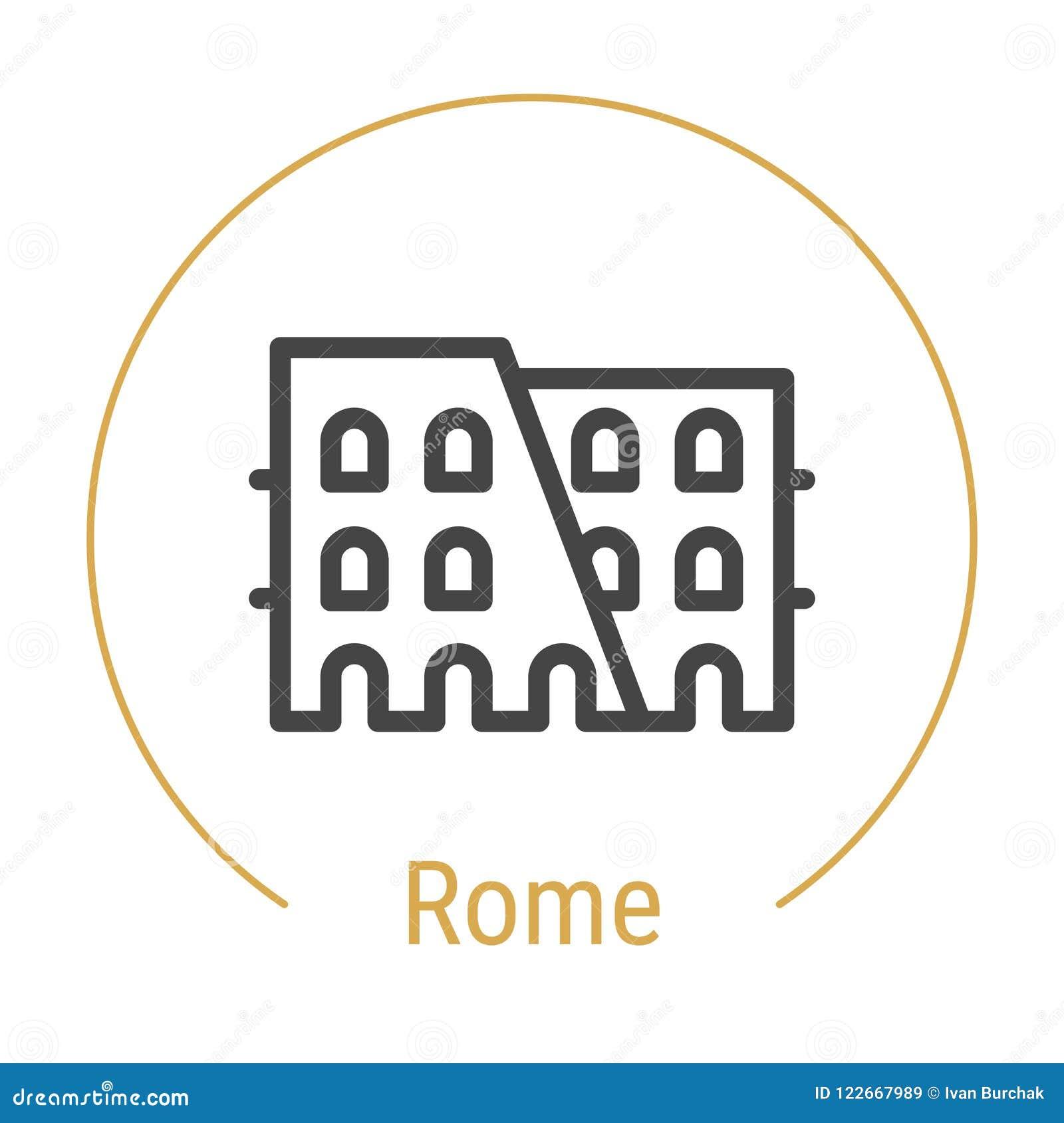 Ligne icône de vecteur de Rome, Italie