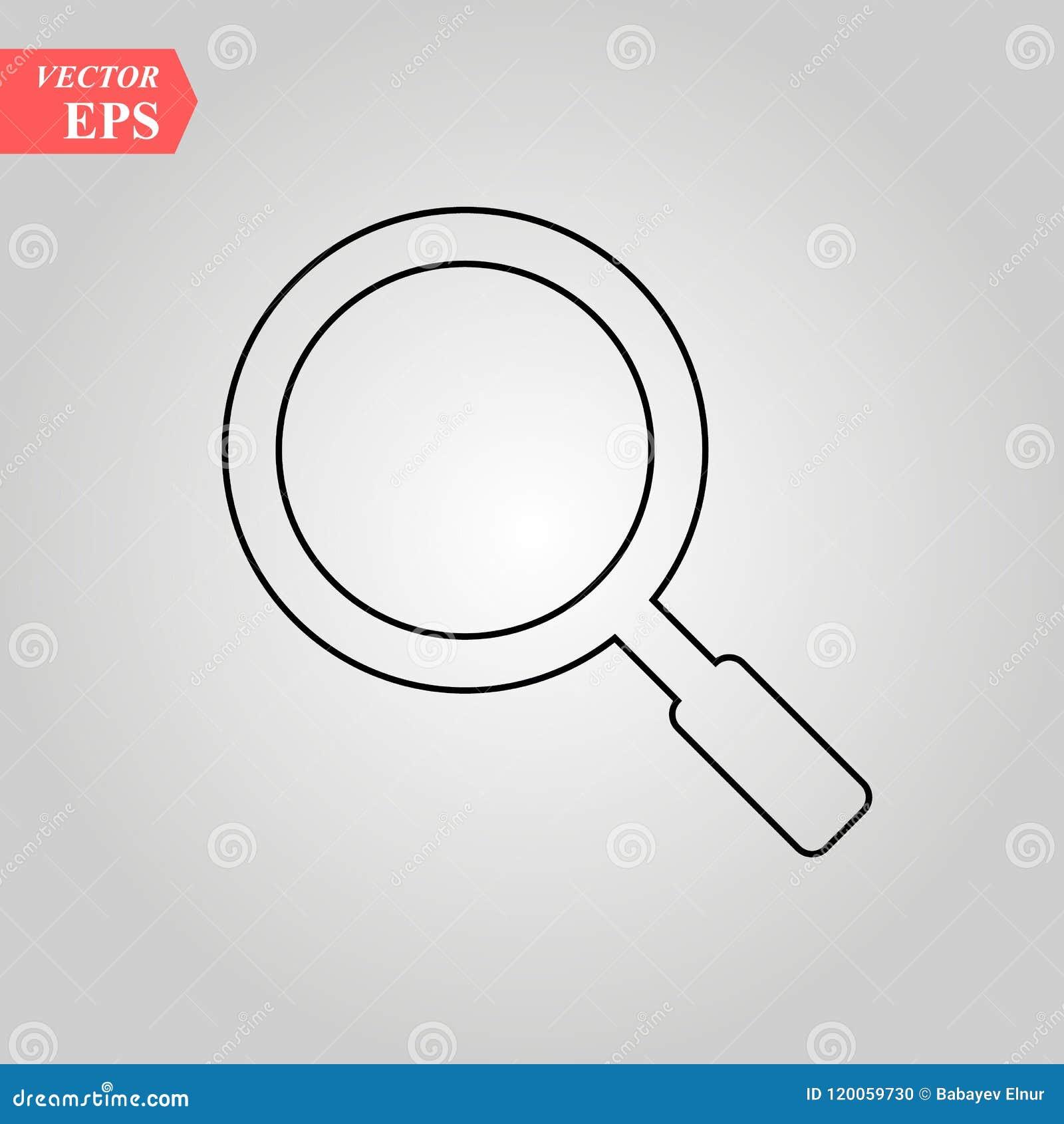 Ligne icône, signe de vecteur d ensemble, pictogramme linéaire de loupe de style d isolement sur le blanc Recherche, symbole de d