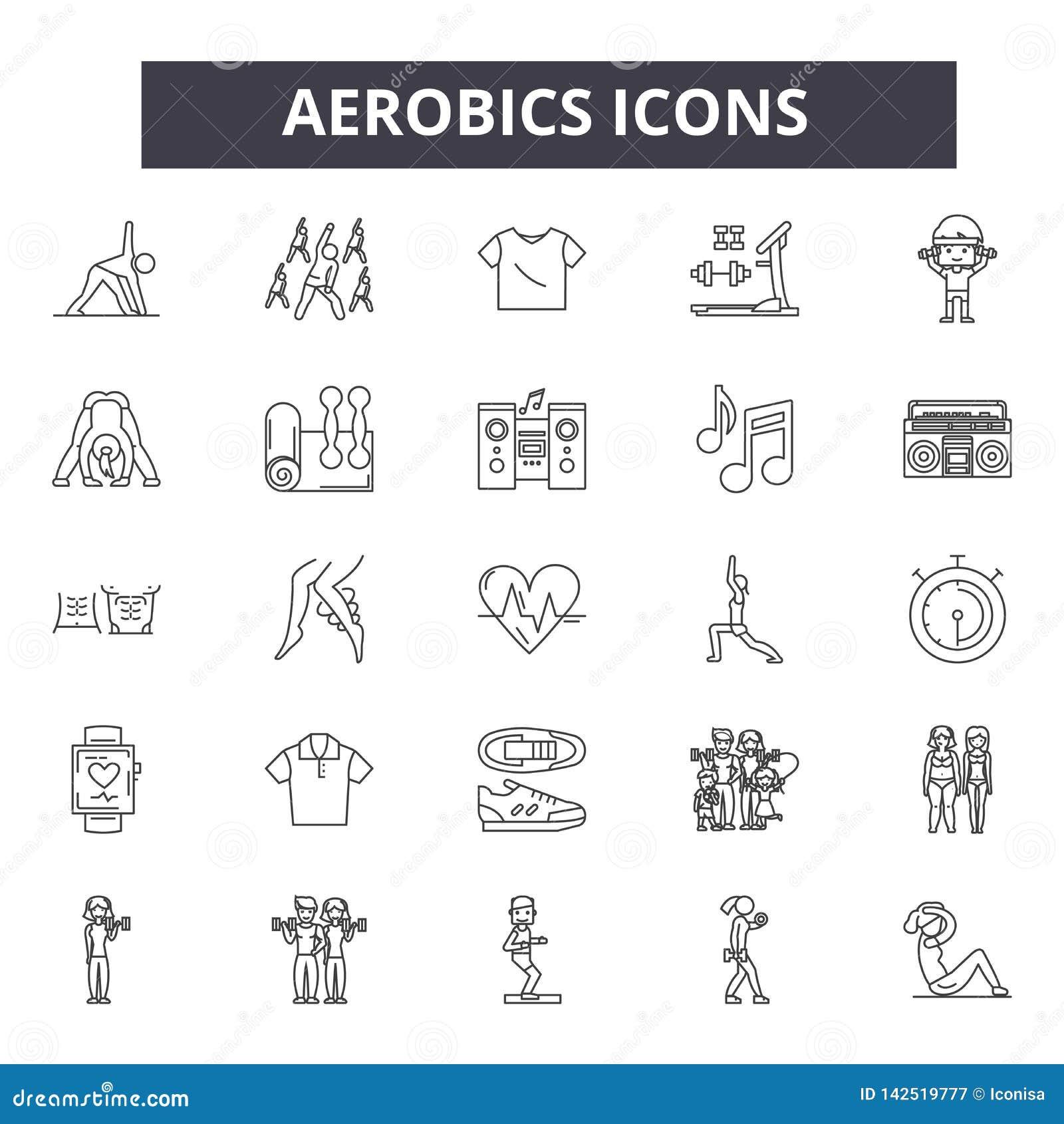 Ligne icônes d aérobic Signes Editable de course Icônes de concept : gymnase, forme physique, séance d entraînement, formation, c