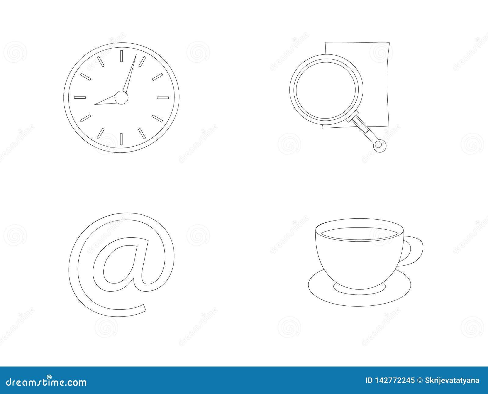 Ligne icônes d actions de vecteur de bureau