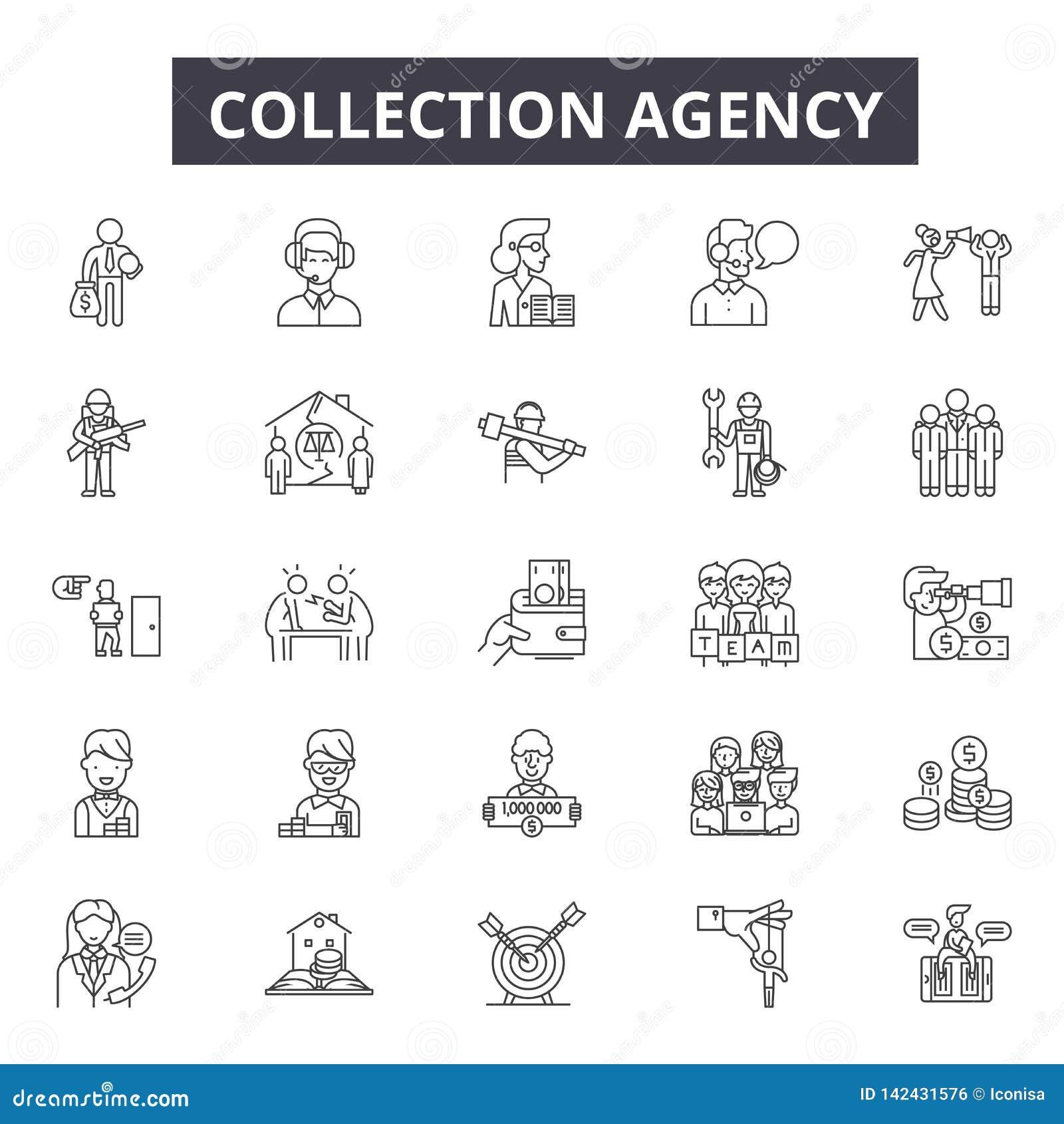 Ligne icônes d agence de recouvrement pour le Web et la conception mobile Signes Editable de course Concept d ensemble d agence d