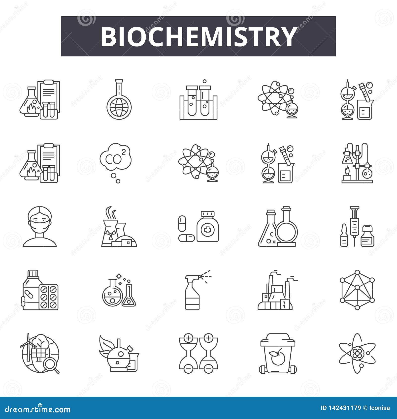 Ligne icônes de biochimie pour le Web et le mobile Signes Editable de course Illustrations de concept d ensemble de biochimie