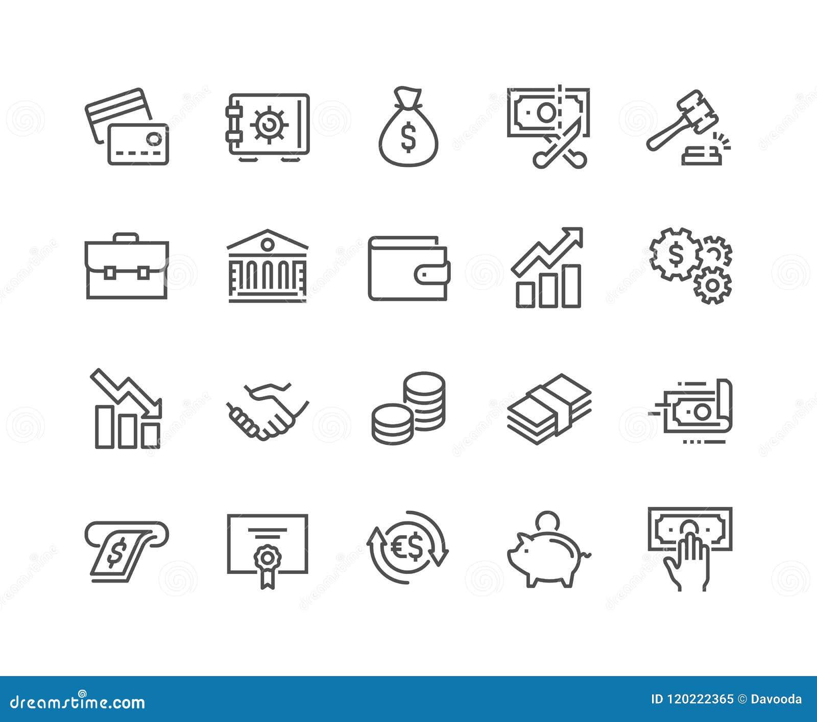 Ligne icônes de finances