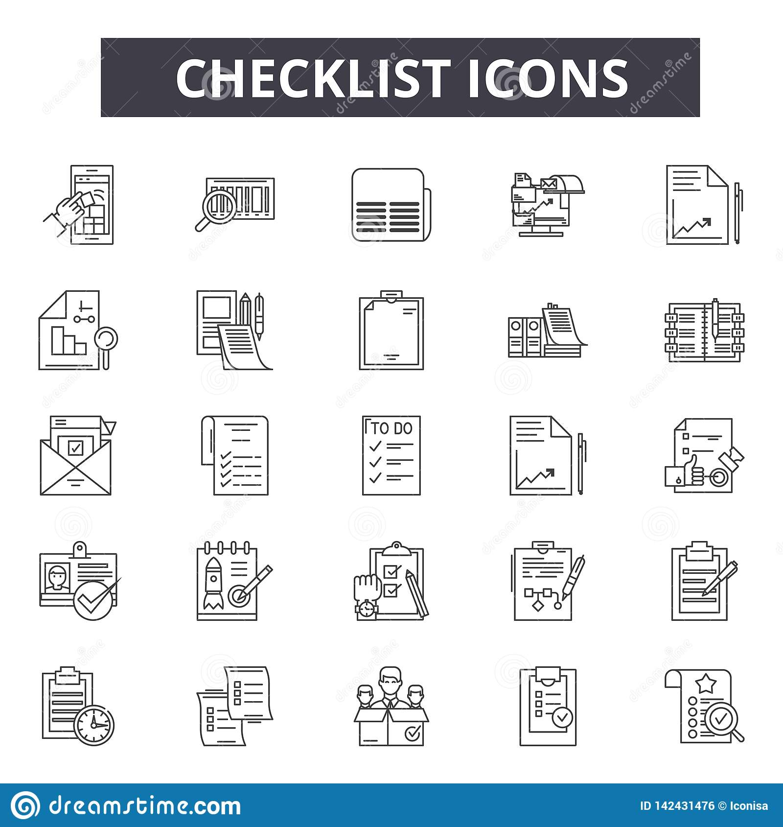 Ligne icônes de liste de contrôle pour le Web et la conception mobile Signes Editable de course Illustrations de concept d ensemb