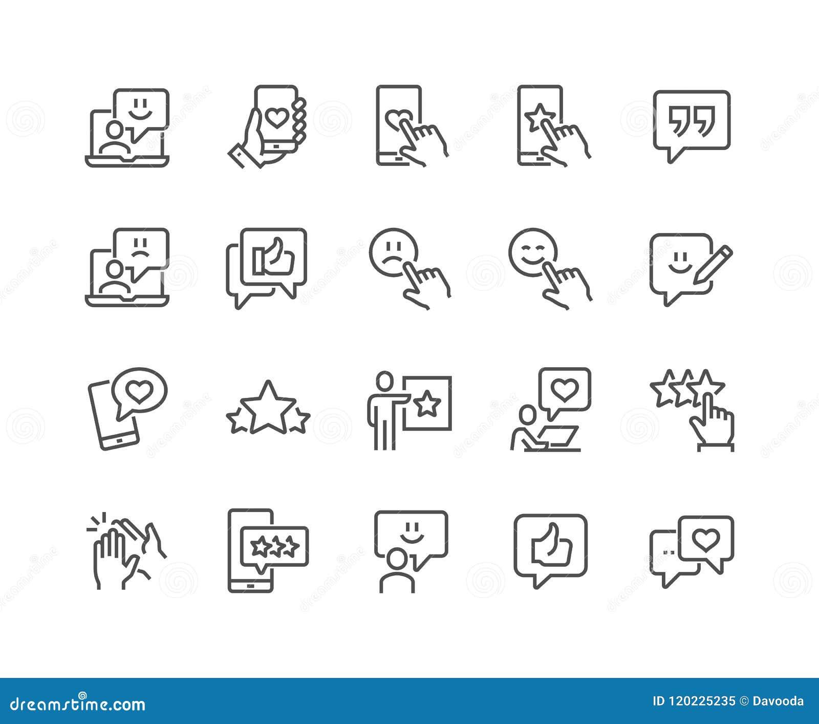 Ligne icônes de rétroaction