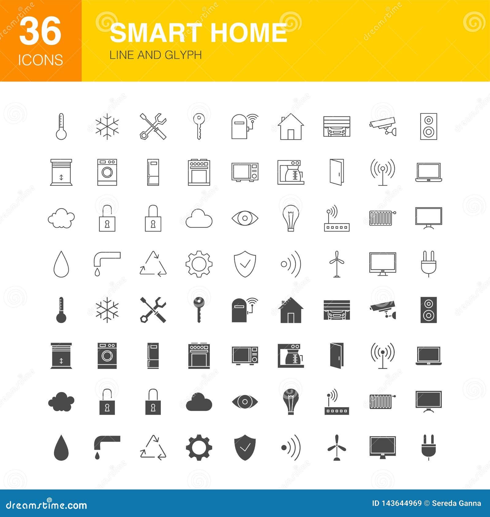 Ligne icônes de Smart Home de Glyph de Web