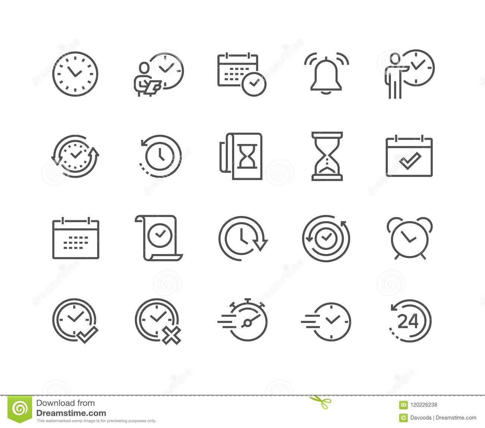 Ligne icônes de temps
