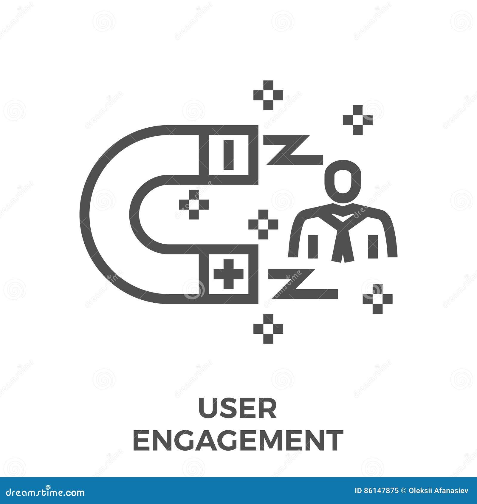 Ligne icône d engagement d utilisateur
