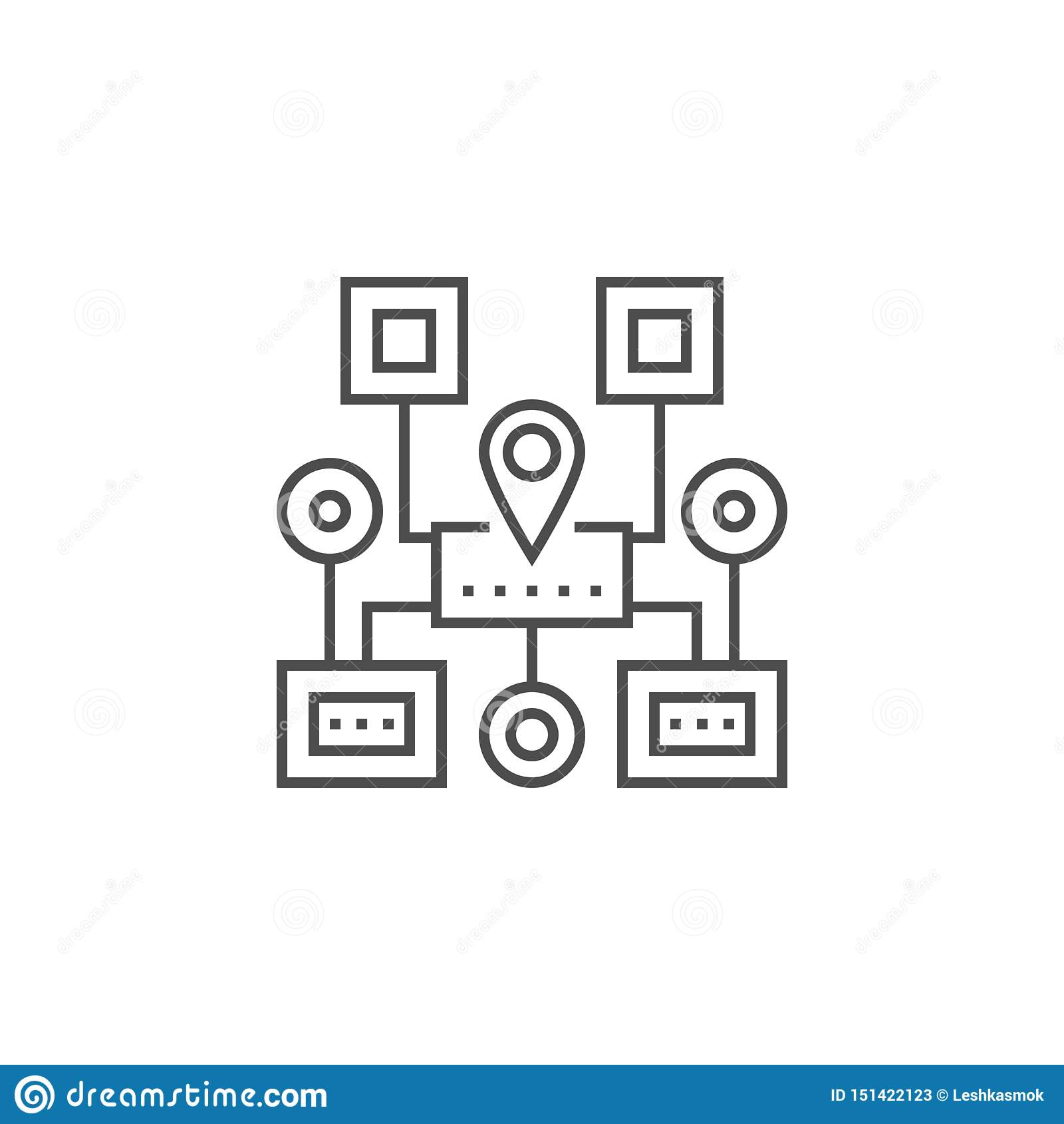 Ligne ic?ne de navigation de plan du site
