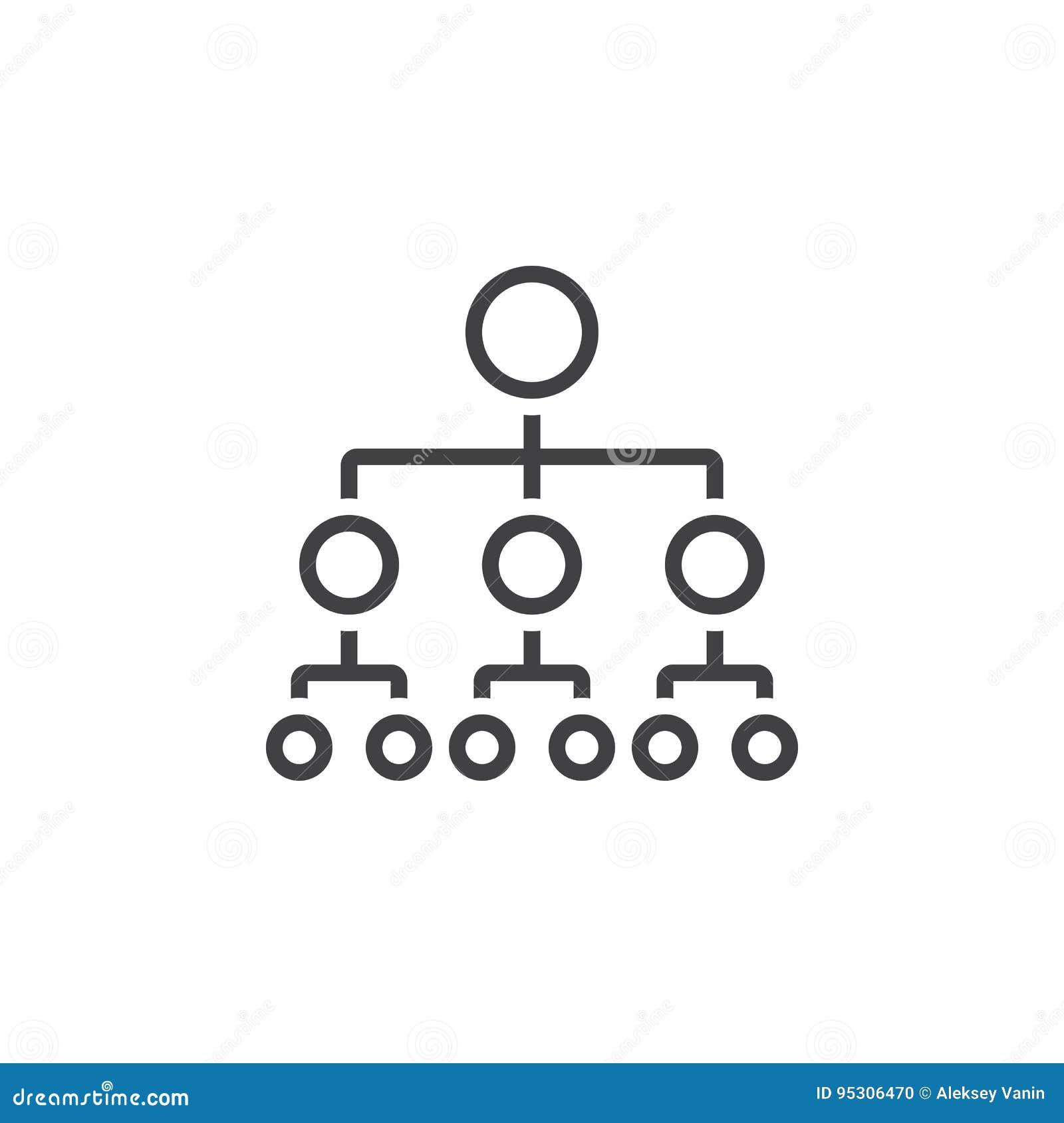 Ligne icône, logo d organigramme de vecteur de hiérarchie d ensemble