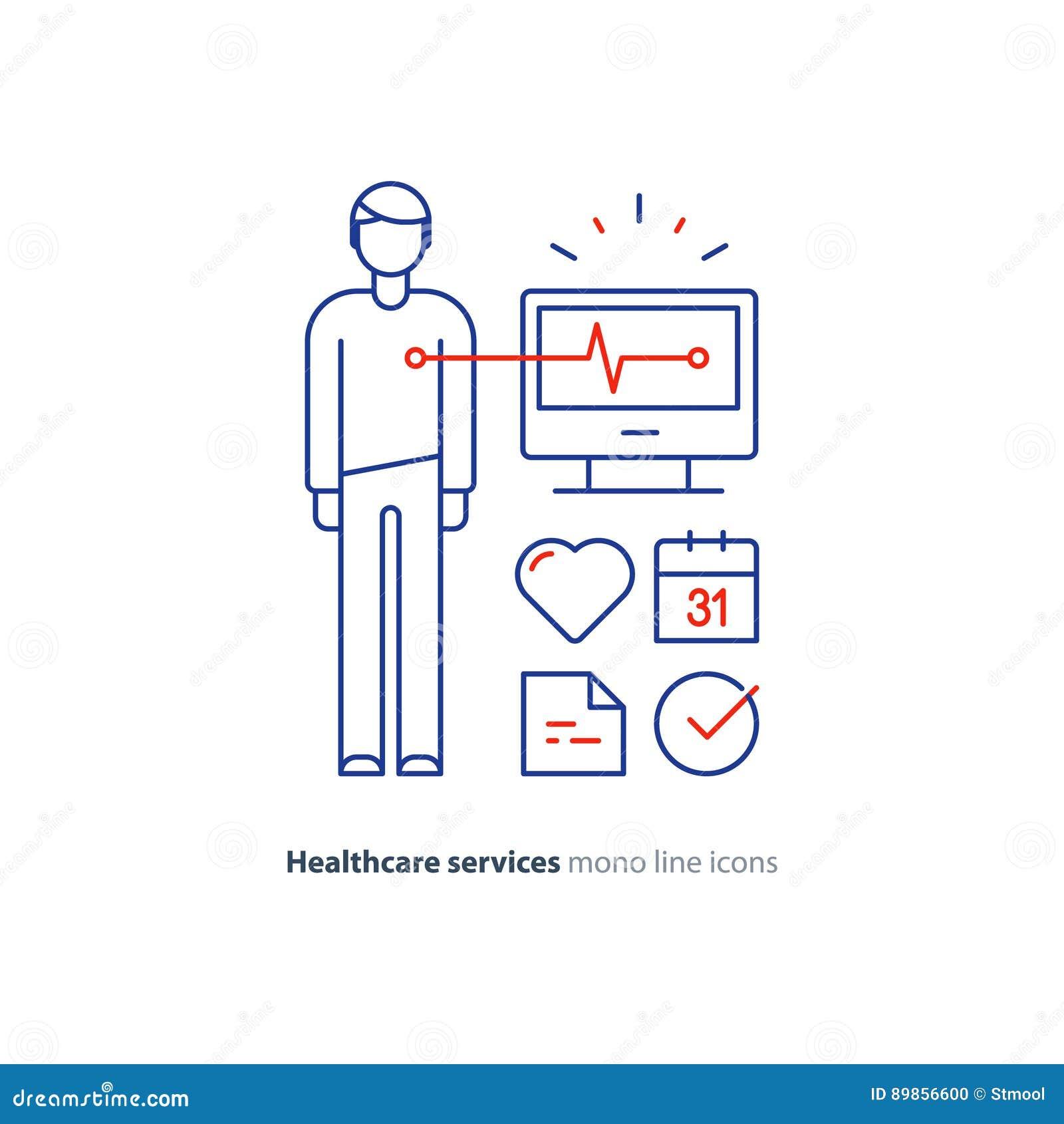 Ligne icône, logo de moniteur d électrocardiogramme, examen d essai de coeur de cardiologie