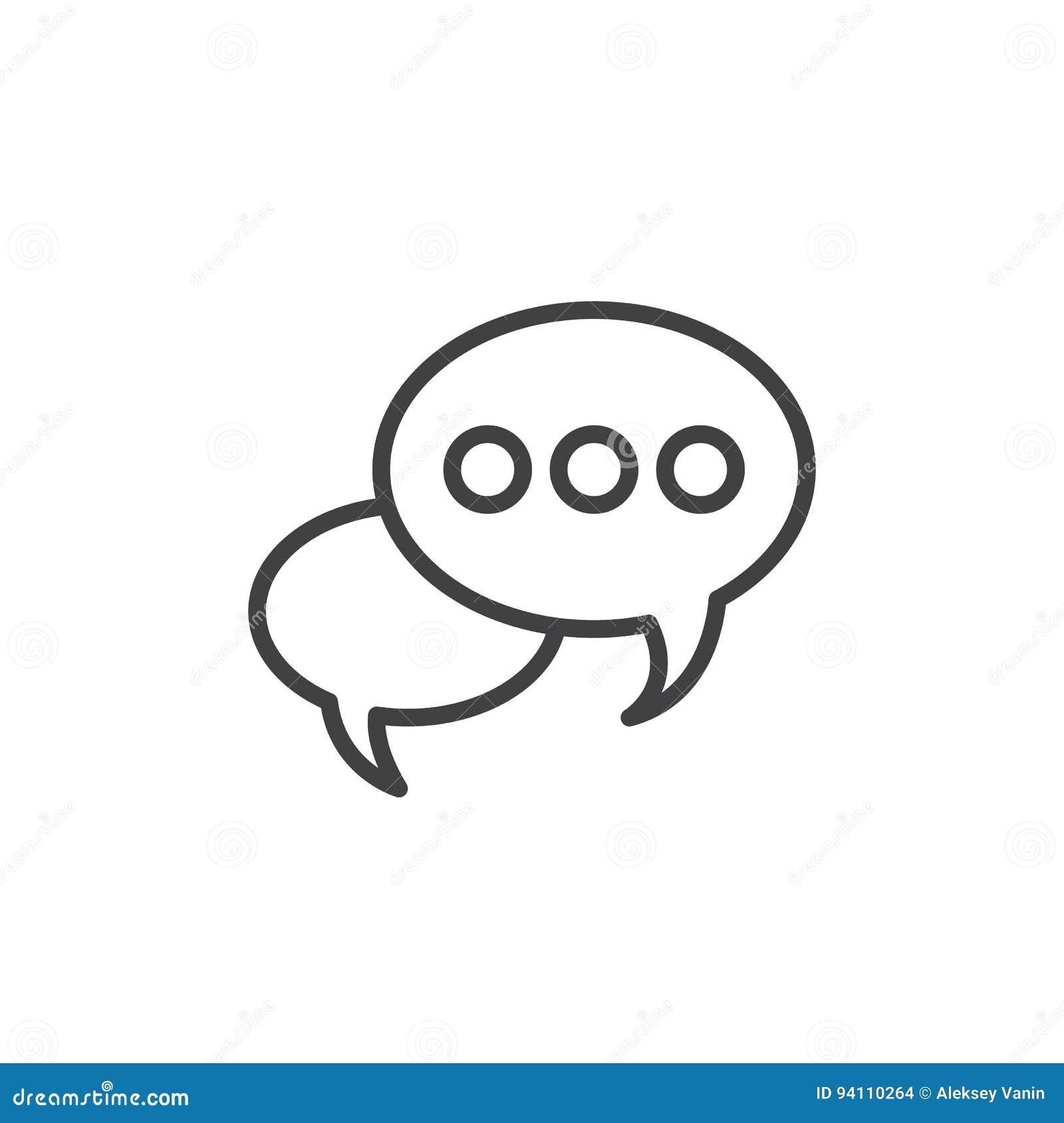 Ligne icône, signe de vecteur d ensemble, pictogramme linéaire de bulle de la parole de style d isolement sur le blanc
