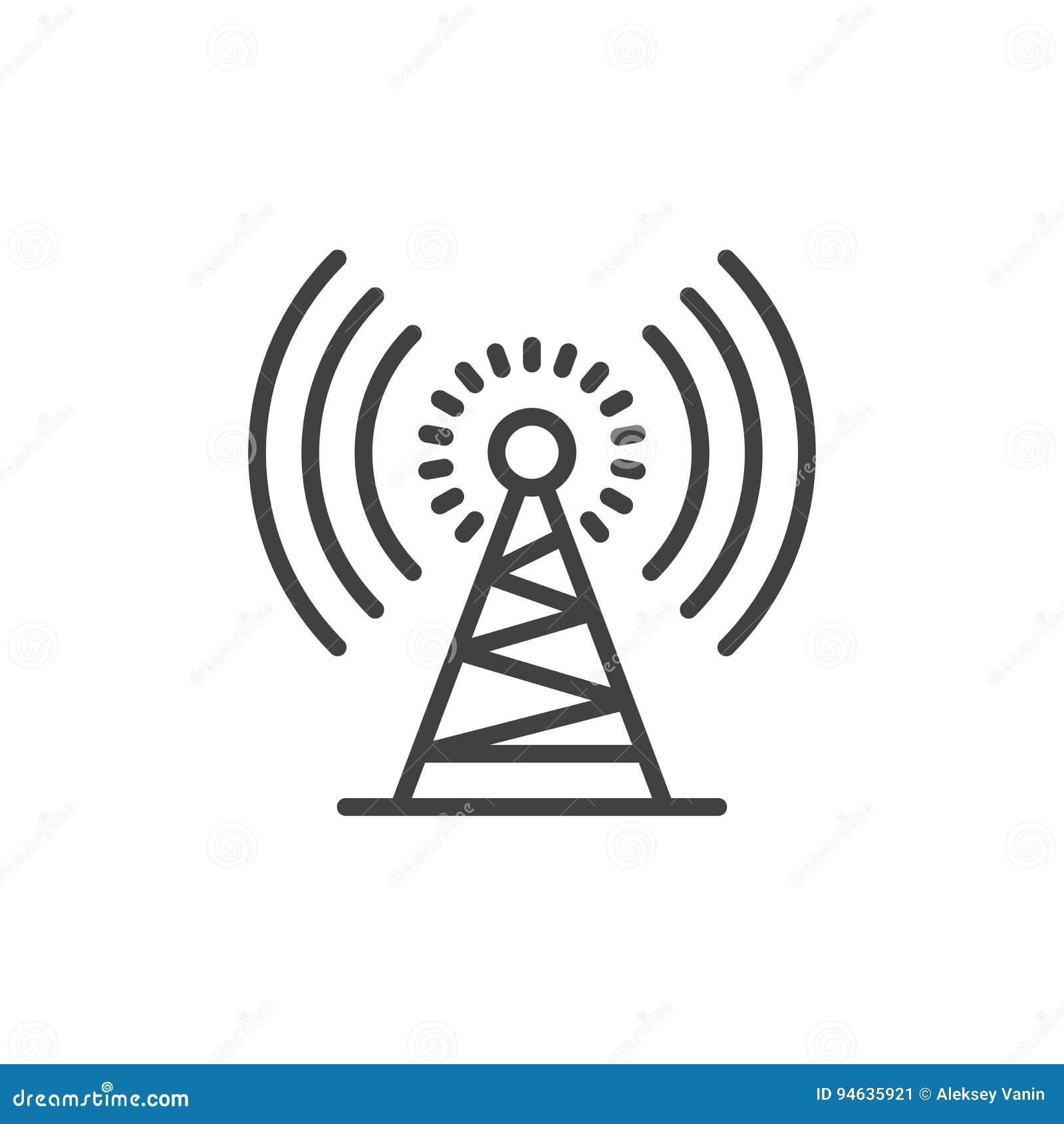 Ligne icône, signe de vecteur d ensemble, pictogramme linéaire de tour d antenne de style d isolement sur le blanc