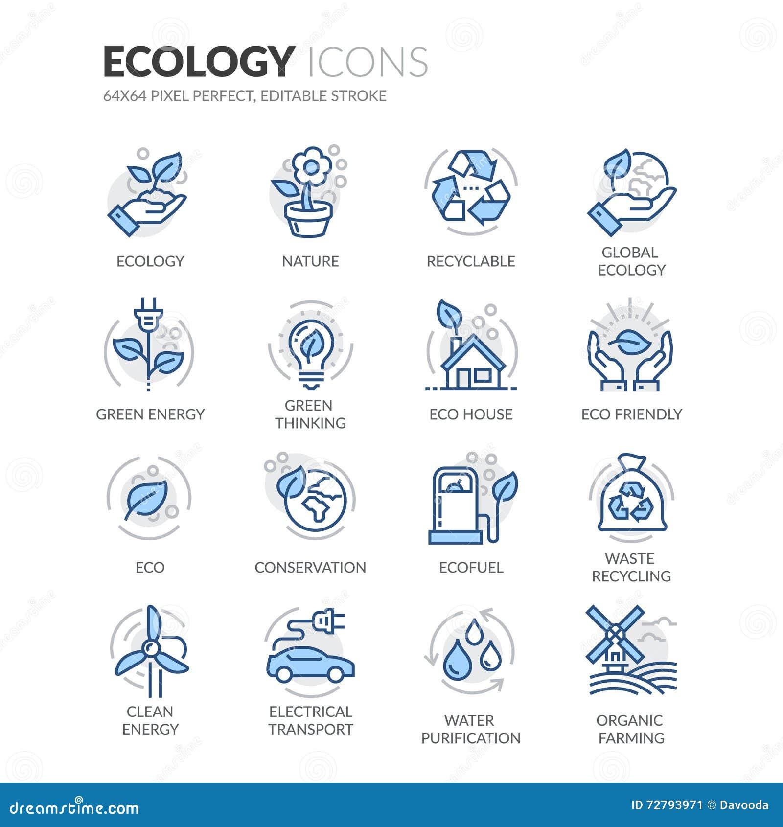 Ligne icônes d écologie