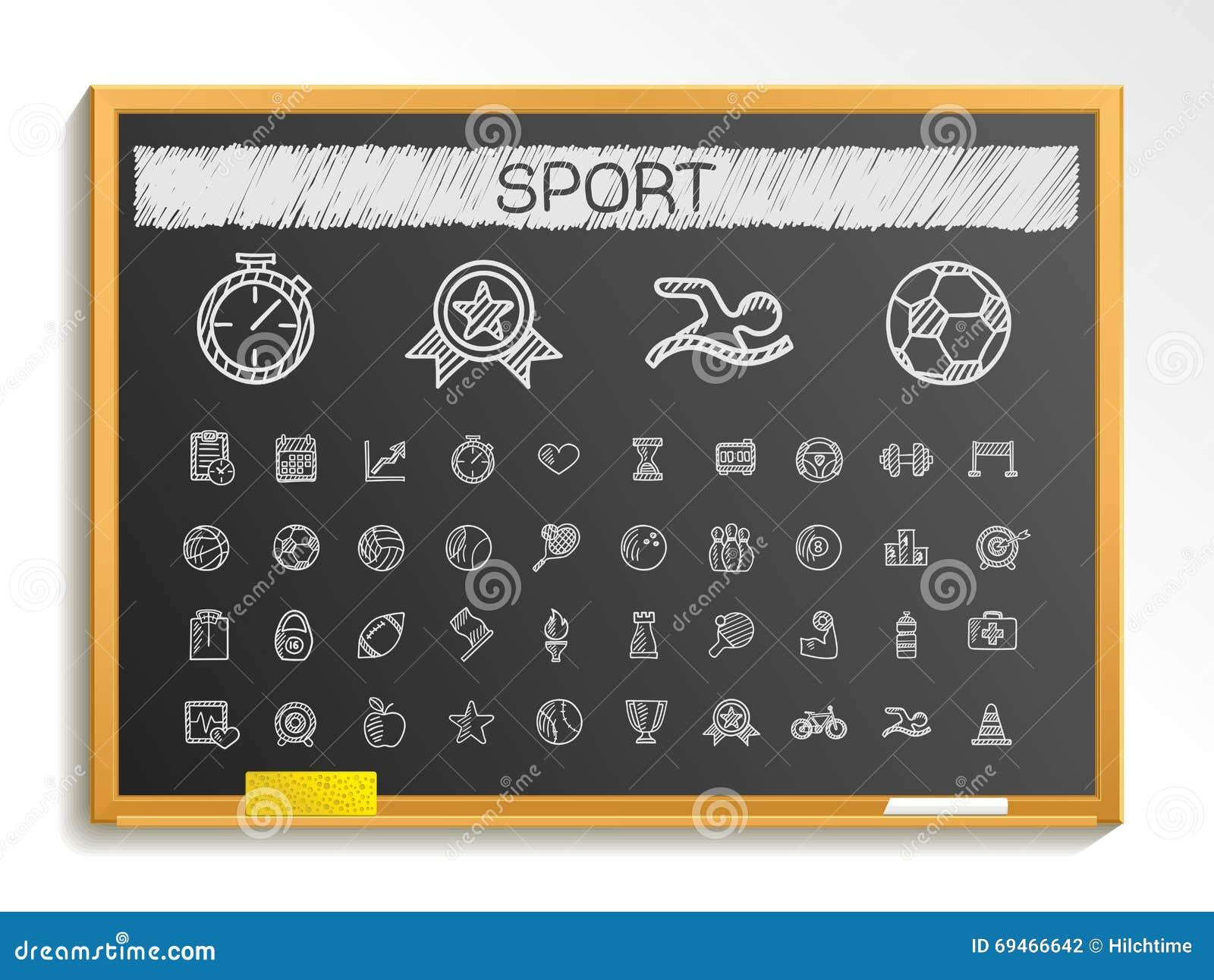 Ligne ic nes de dessin de main de sport illustration de signe de croquis de c - Tableau noir en ligne ...