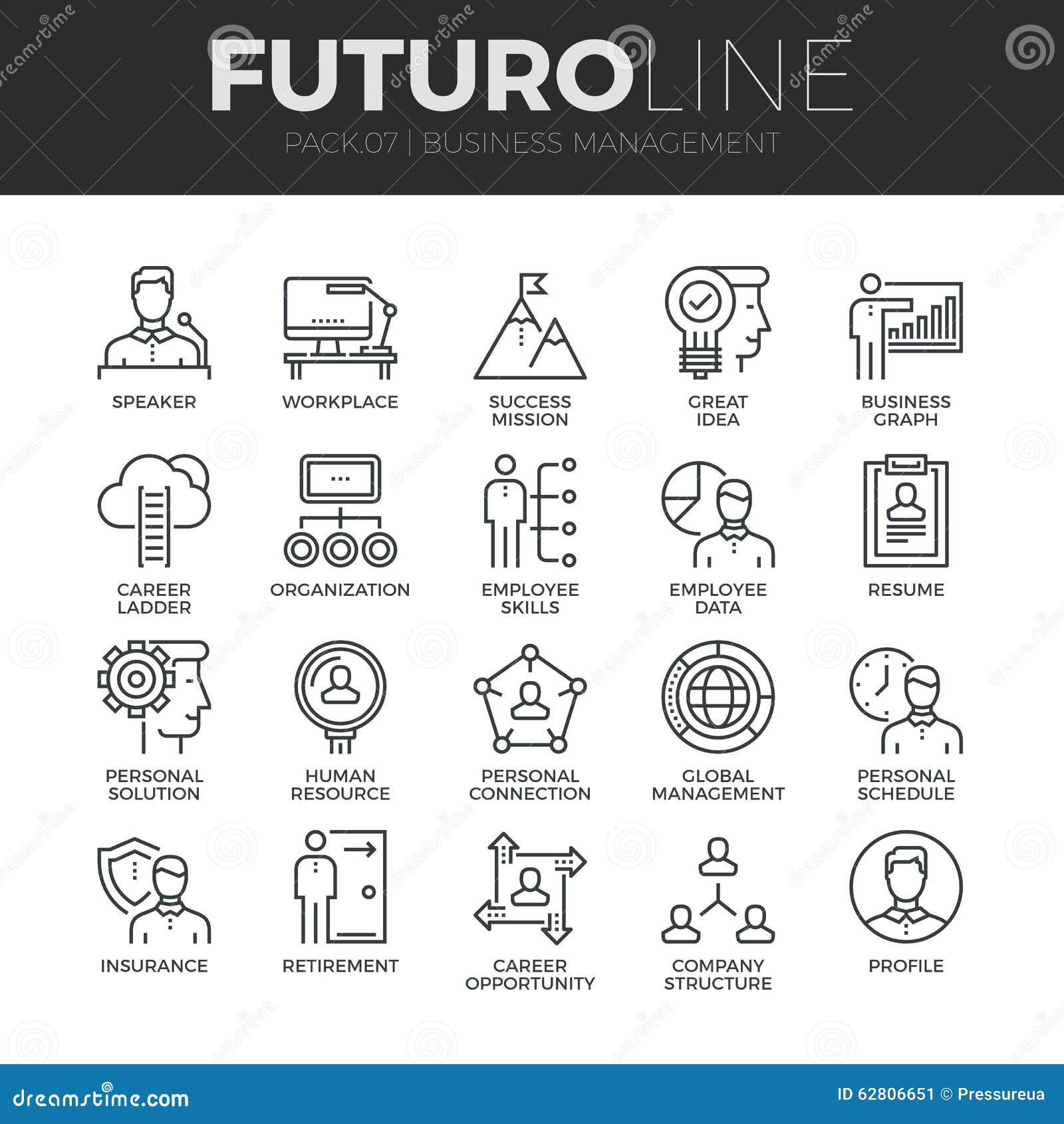 Ligne icônes de Futuro de gestion d entreprise réglées