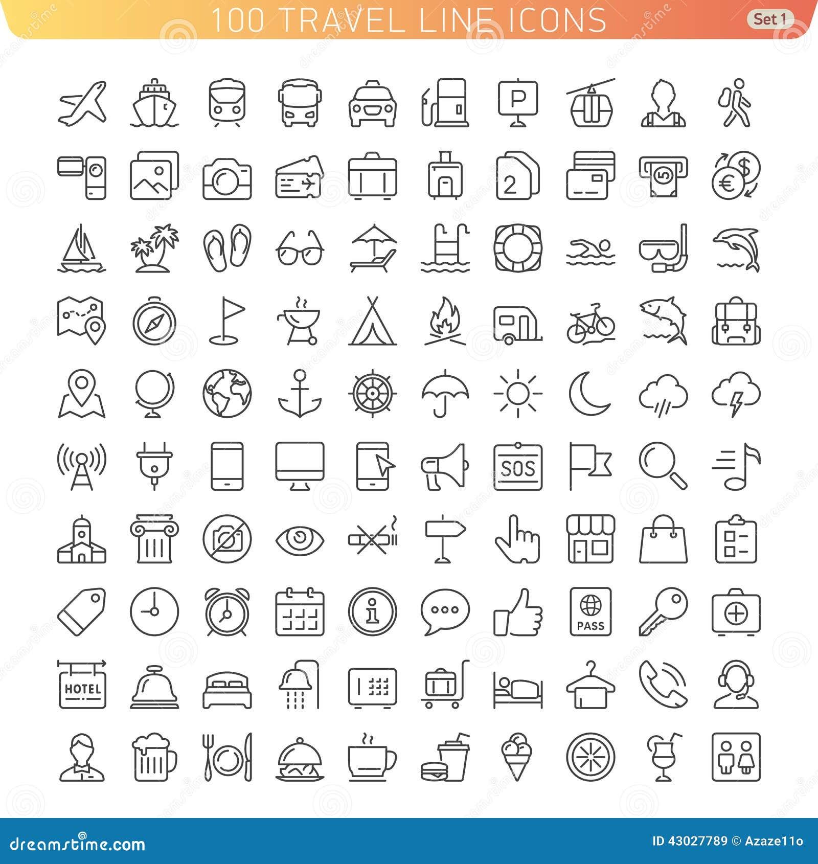 Ligne icônes de voyage