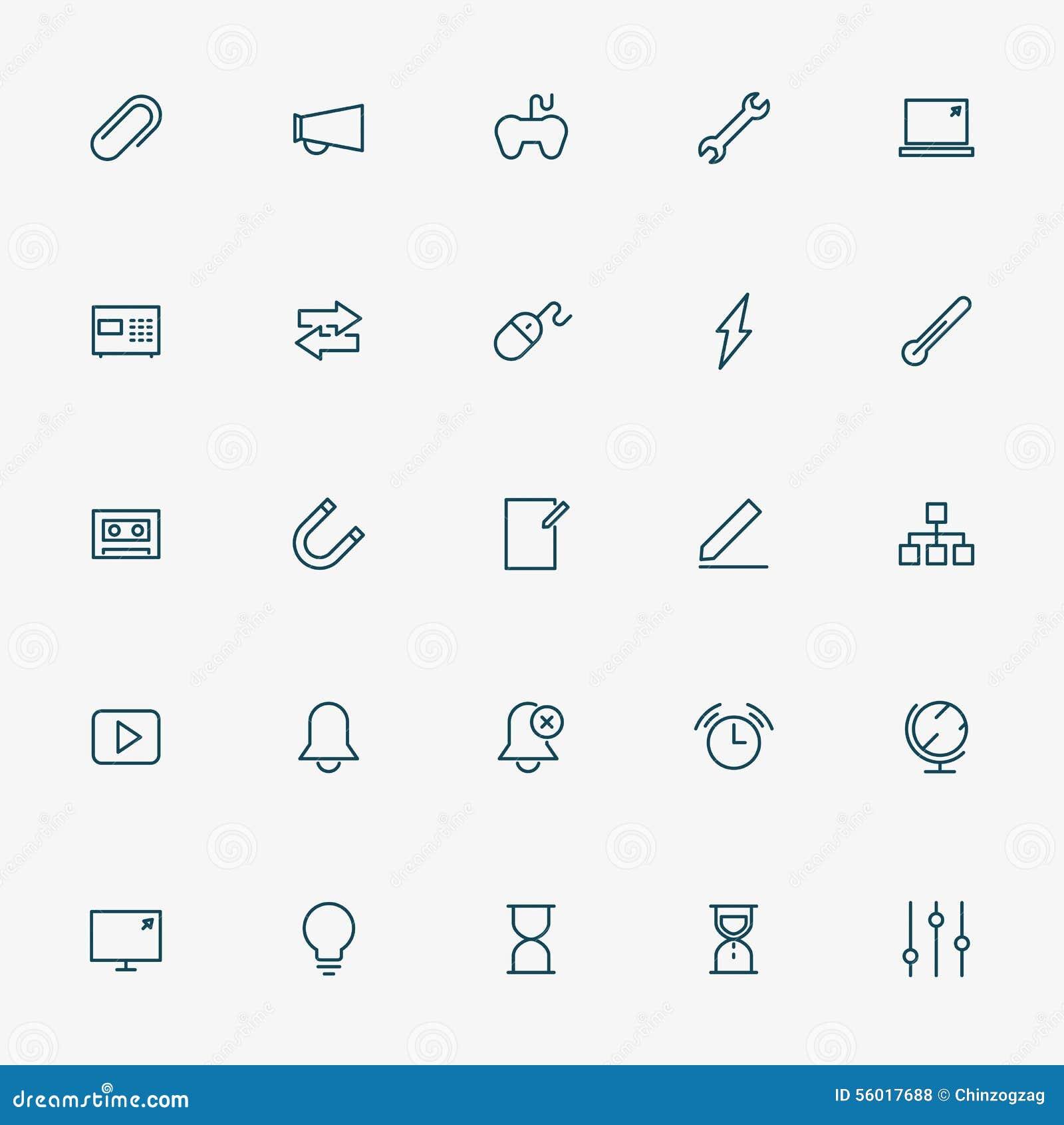 Ligne icônes du Web 5x5 sur le fond blanc