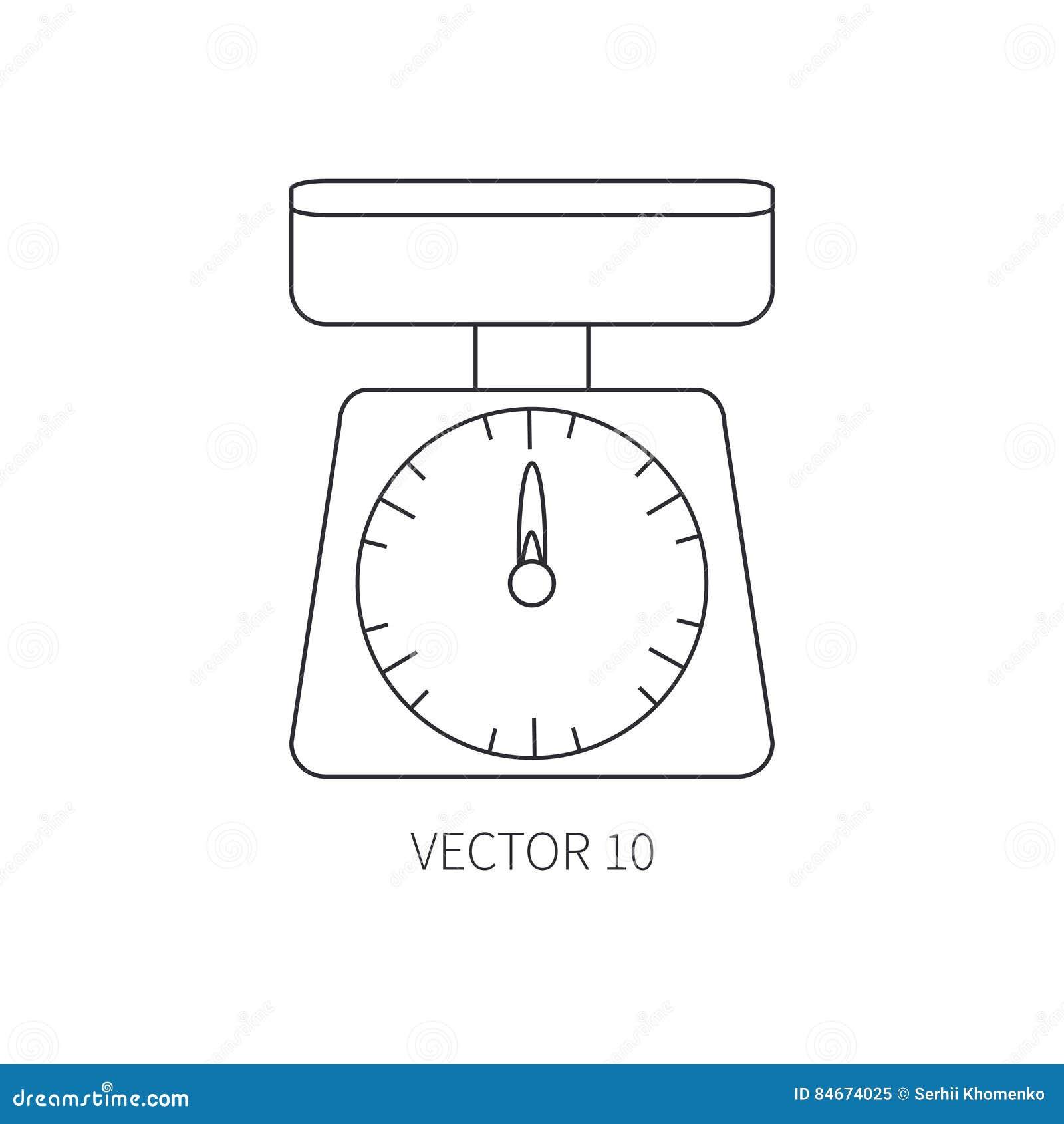 Ligne ic nes plates de vaisselle de cuisine de vecteur chelles de cuisine outils de couverts - Outil de cuisine liste ...