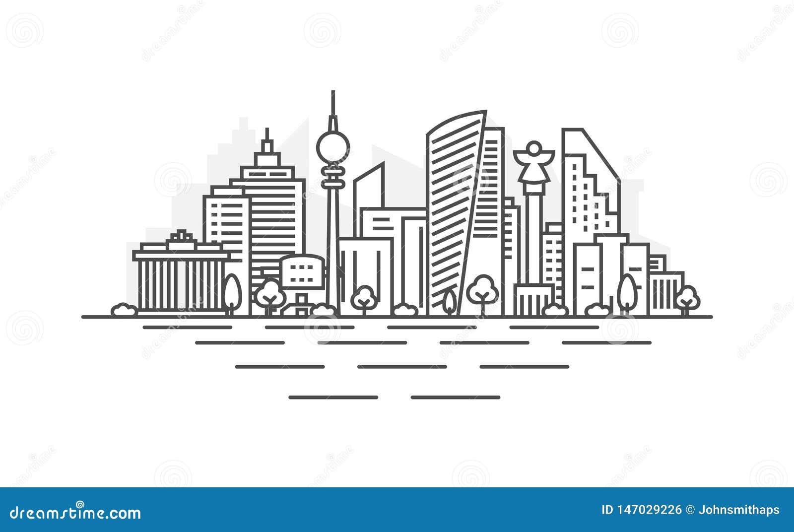 Ligne illustration d architecture de Berlin, Allemagne d horizon Paysage urbain lin?aire de vecteur avec les points de rep?re c?l