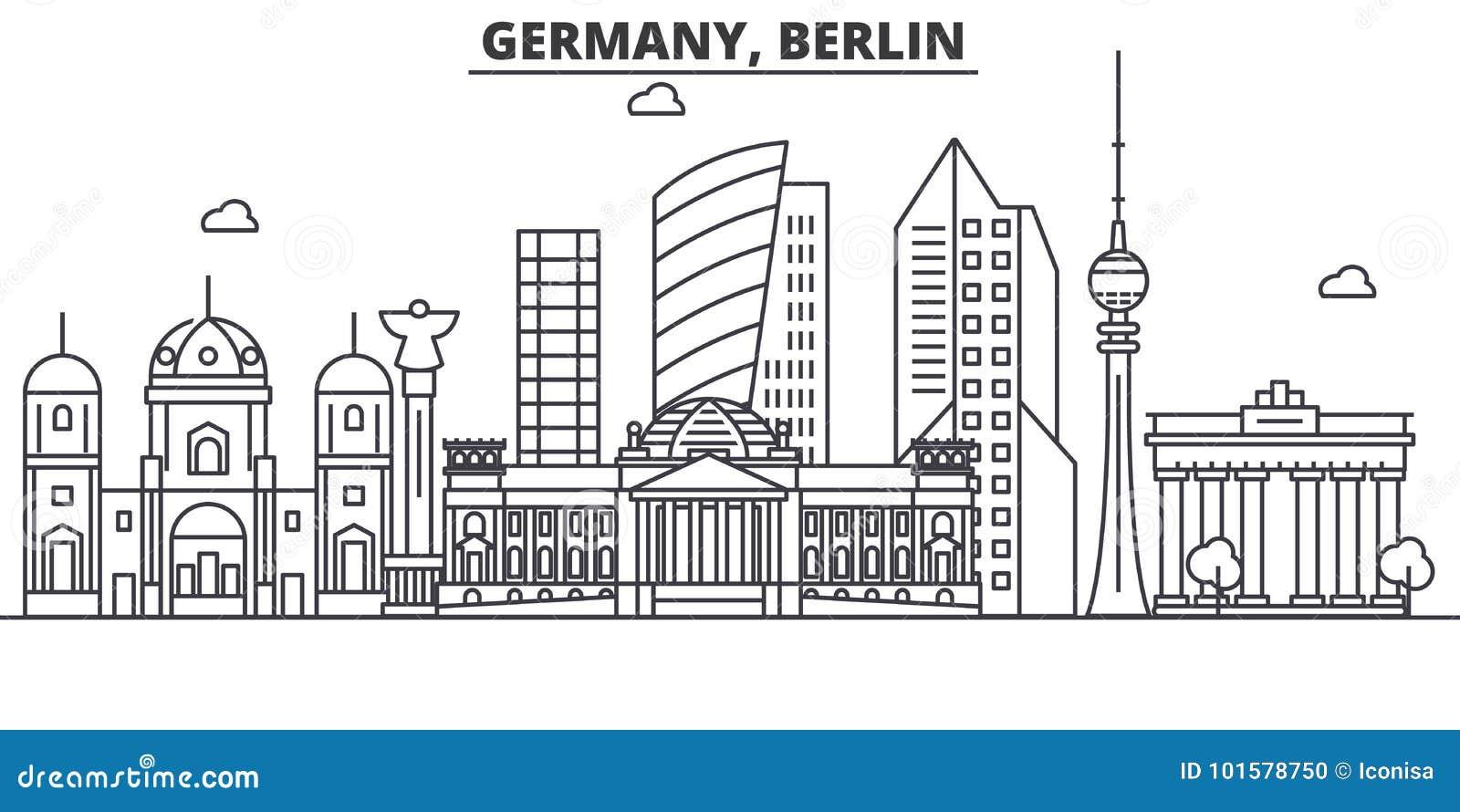 Ligne illustration d architecture de l Allemagne, Berlin d horizon Paysage urbain linéaire de vecteur avec les points de repère c