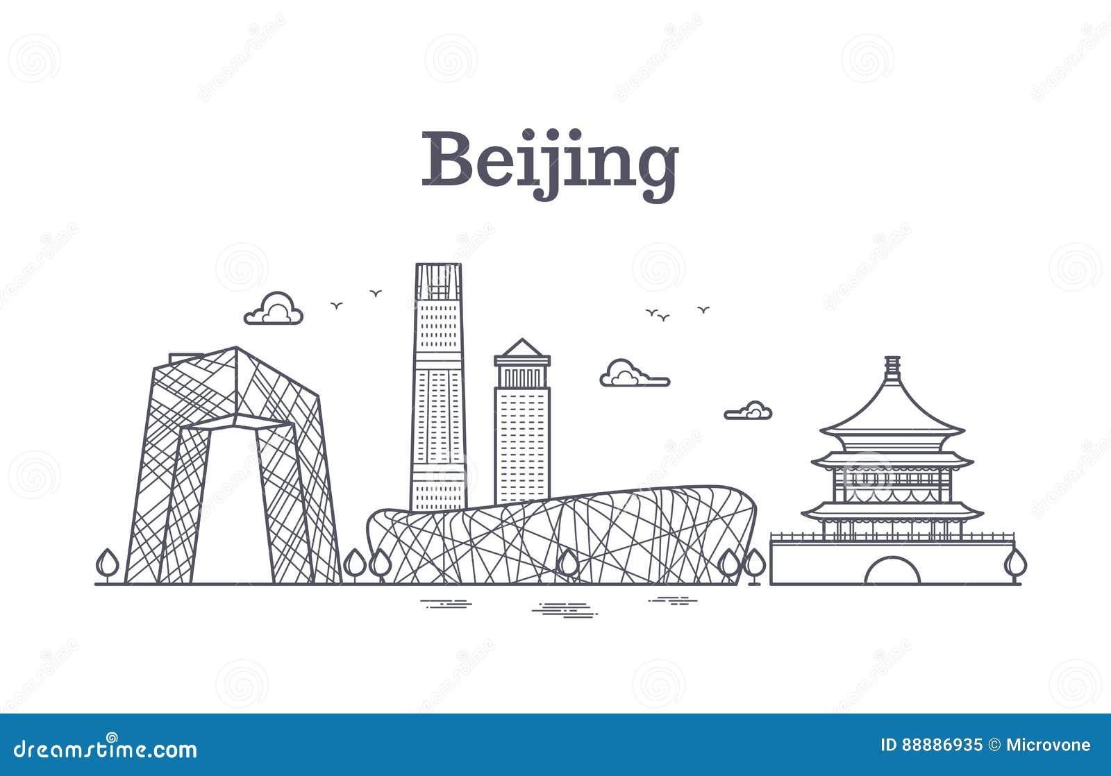 Ligne illustration panoramique de la Chine Pékin de vecteur d horizon