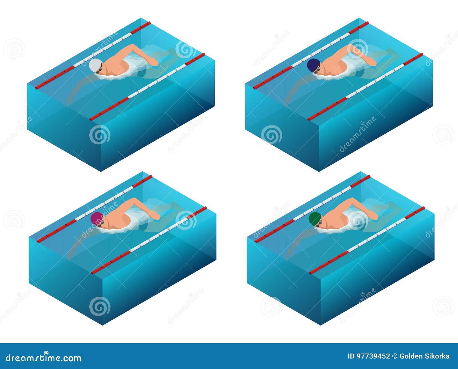 Ligne infographics intérieur d intérieur de bain de sportif de course Illustration masculine isométrique plate de vecteur de nage