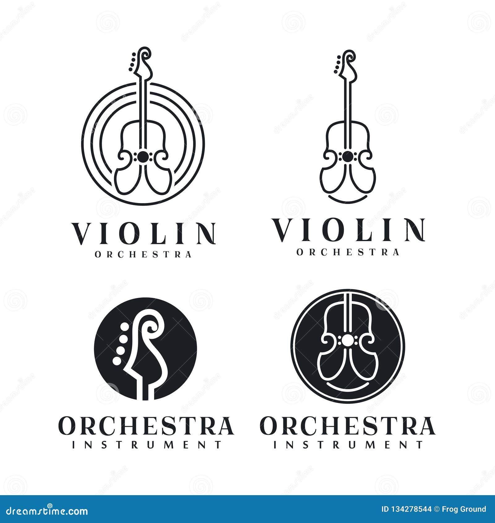 Ligne inspiration de conception d Art Violin/logo de violoncelle - illustration de vecteur