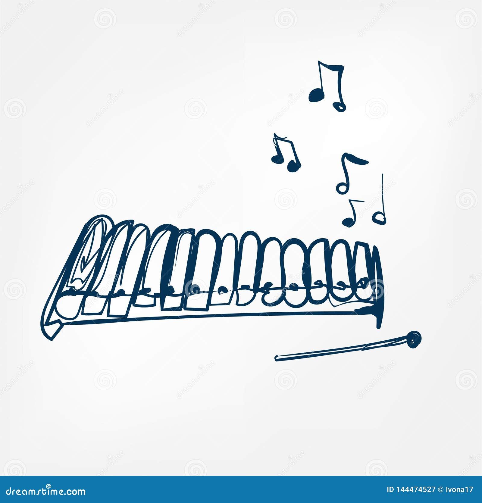 Ligne instrument de croquis de glockenspiel de musique de conception