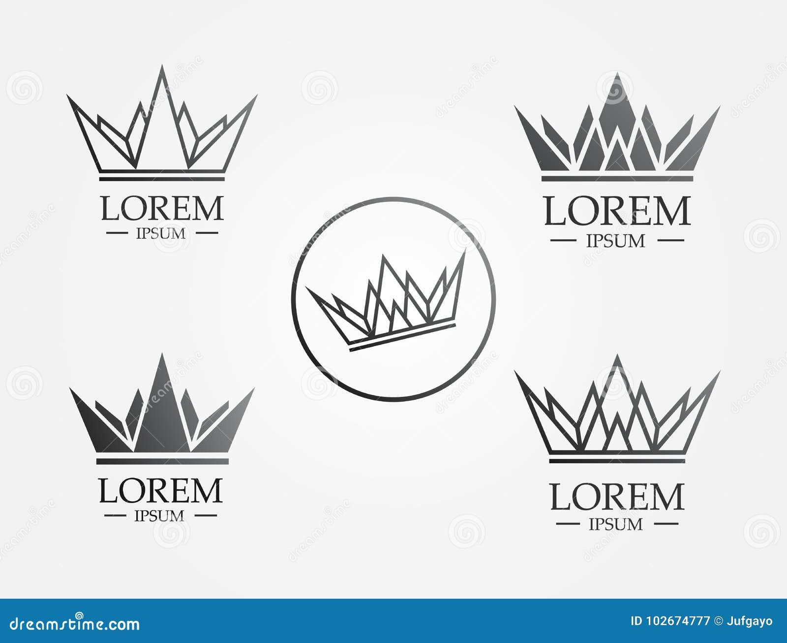 Ligne logo de couronne d icône