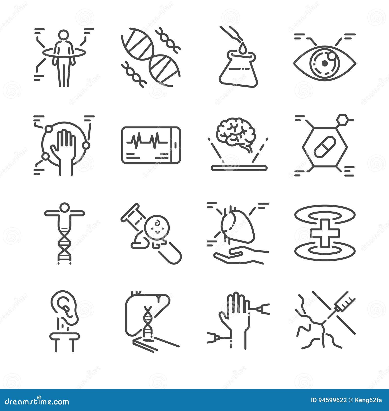Ligne médicale ensemble d innovation d icône A inclus les icônes en tant que le balayage physique, l oeil numérique, l ADN, le ps