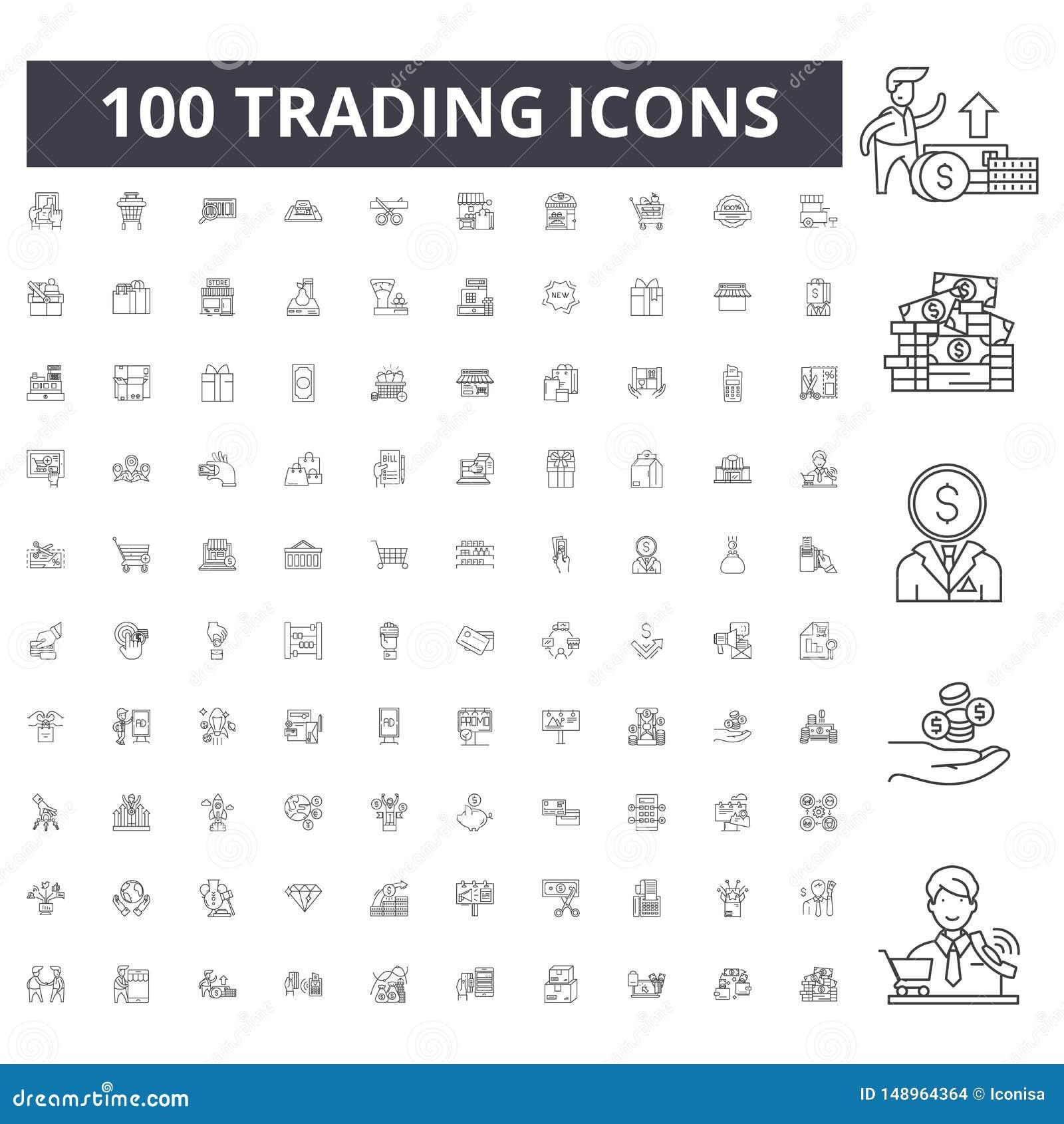 Ligne marchande icônes, signes, ensemble de vecteur, concept d illustration d ensemble