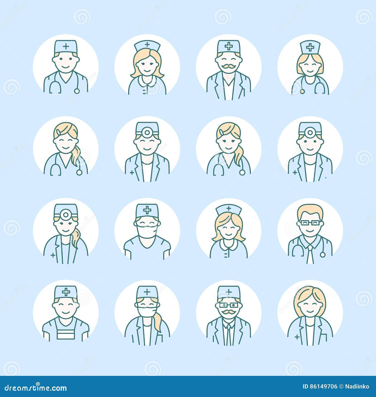Ligne mignonne icône de vecteur de docteur Logo linéaire de clinique d hôpital Décrivez le signe médical - chirurgien, cardiologu