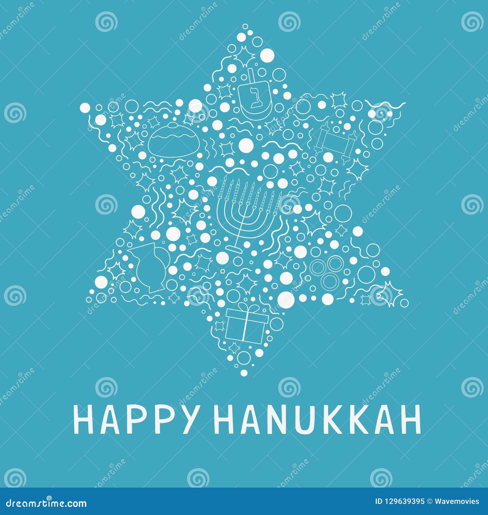 Ligne mince blanche icônes de conception plate de vacances de Hanoucca réglées en étoile o