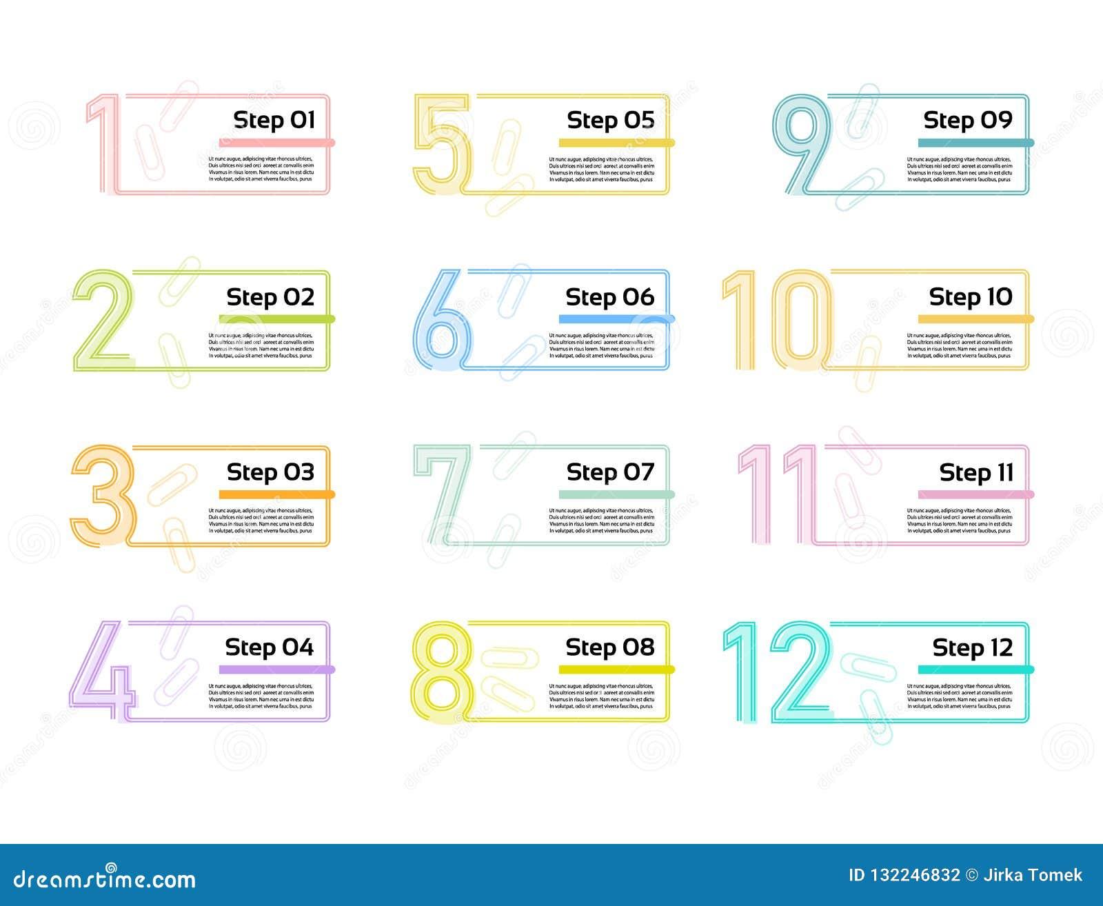 Ligne mince calibre minimal de conception d Infographic 12 options, étapes Peut être employé pour le diagramme de processus, prés