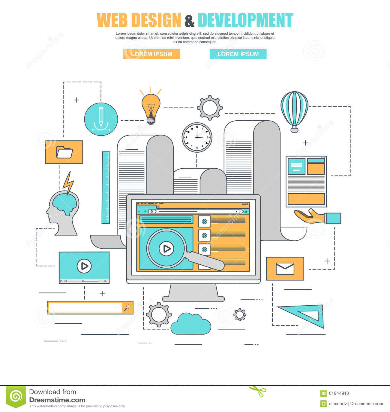 Ligne mince concept de construction plat pour le site web for Site web de houseoftheweek