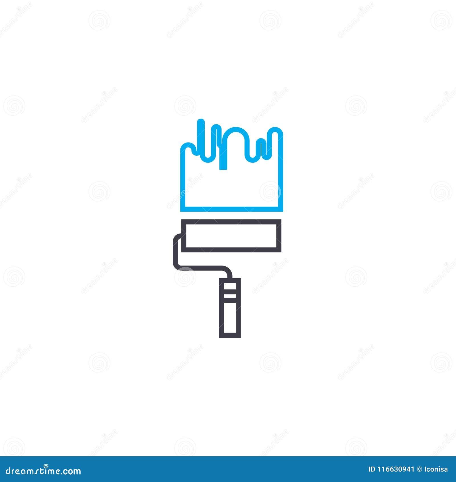 Ligne mince de peinture icône de vecteur de travail de course Le travail de peinture décrivent l illustration, signe linéaire, co