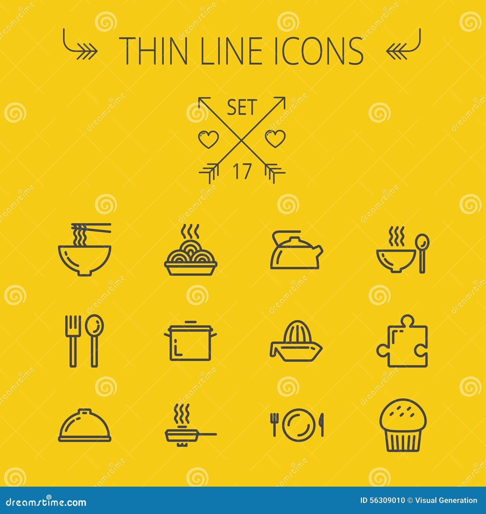 Ligne mince ensemble de nourriture d icône