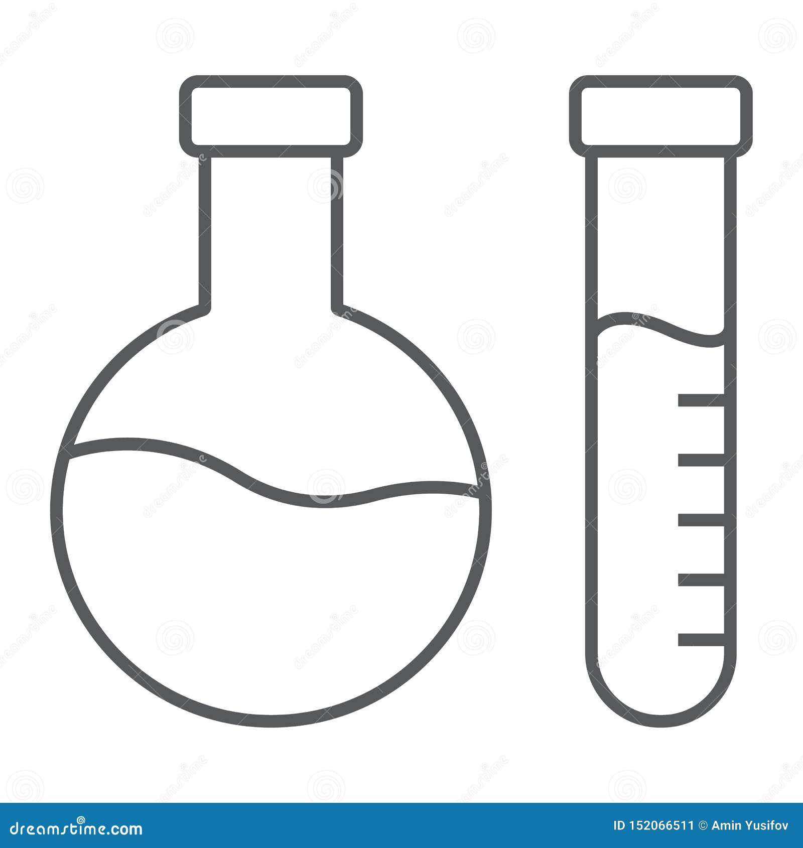 Ligne mince icône d analyse chimique, laboratoire et flacon, signe d essai de tube, graphiques de vecteur, un modèle linéaire sur