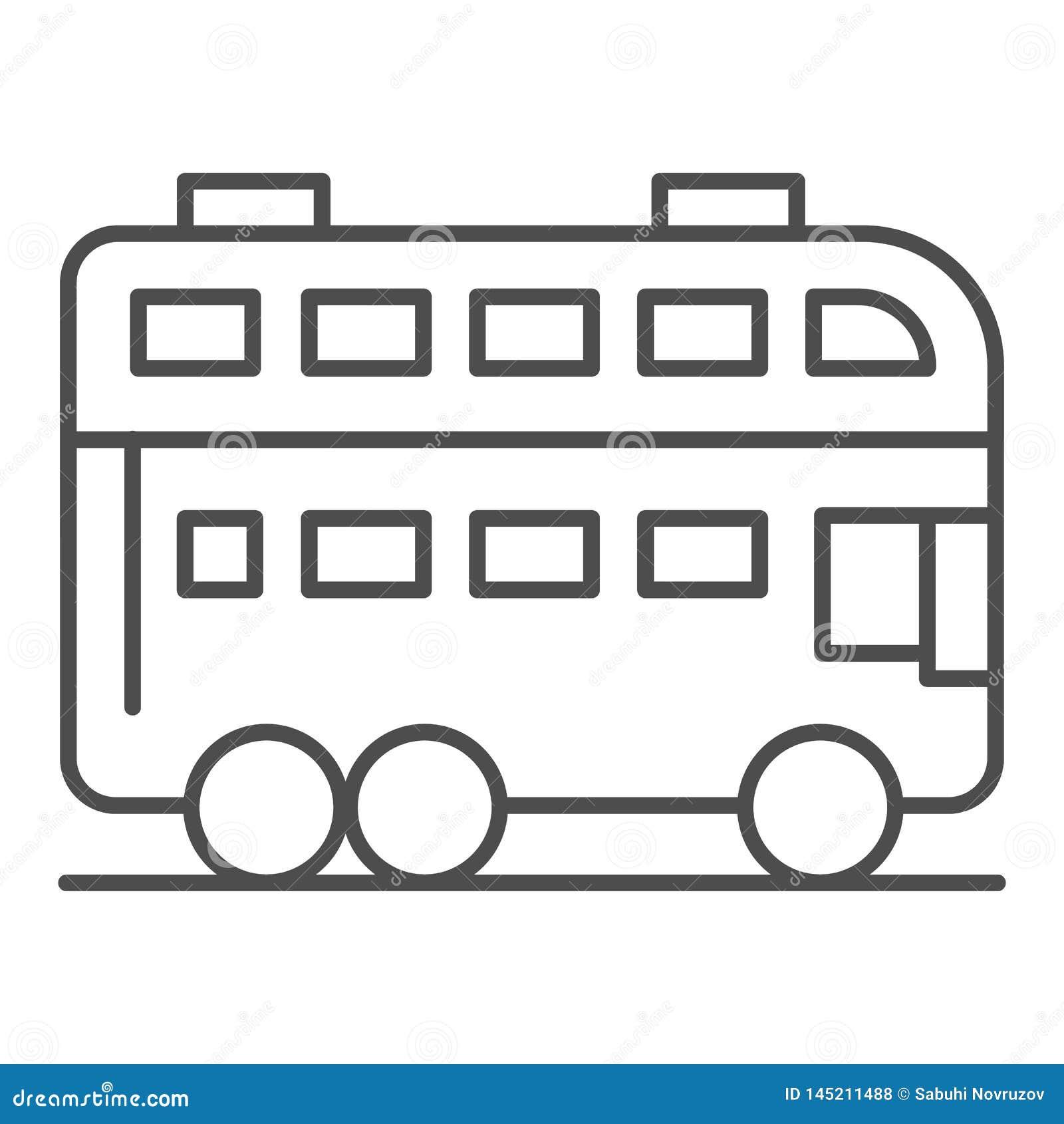 Ligne mince ic?ne d autobus de Londres Illustration de vecteur d autobus ? imp?riale d isolement sur le blanc Conception de style
