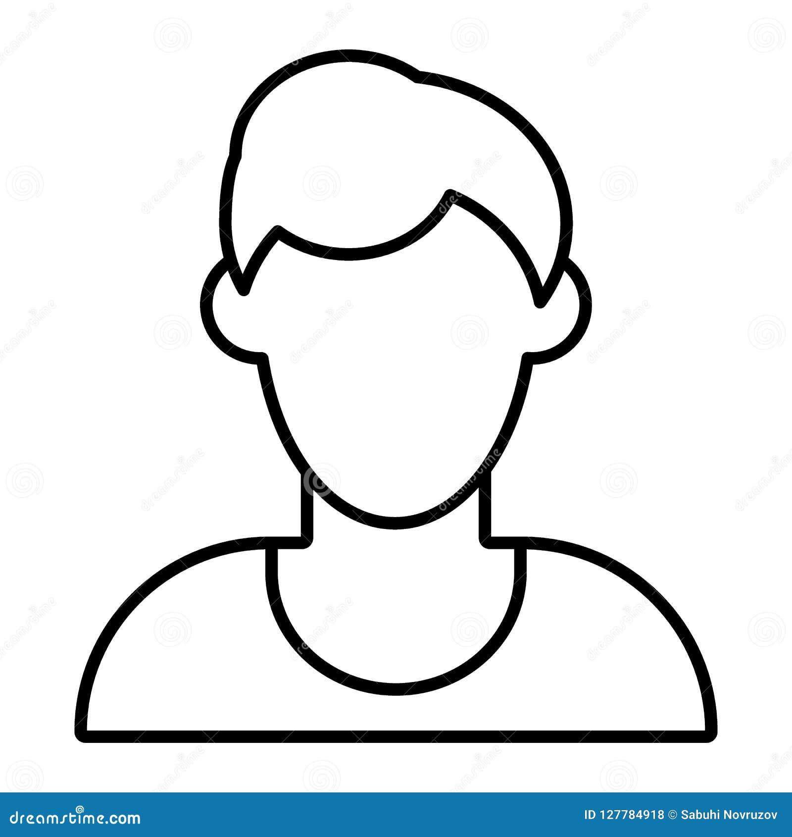 Ligne Mince Icône D Avatar Sans Visage D Homme Illustration