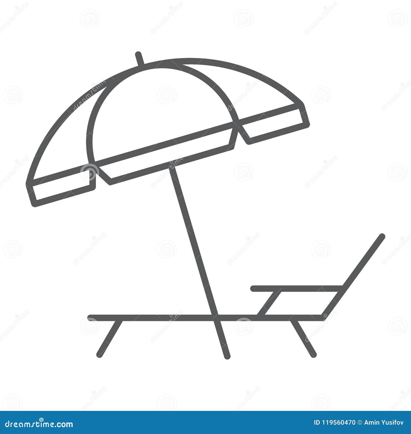 Ligne mince icône, voyage de salon de parapluie et de soleil