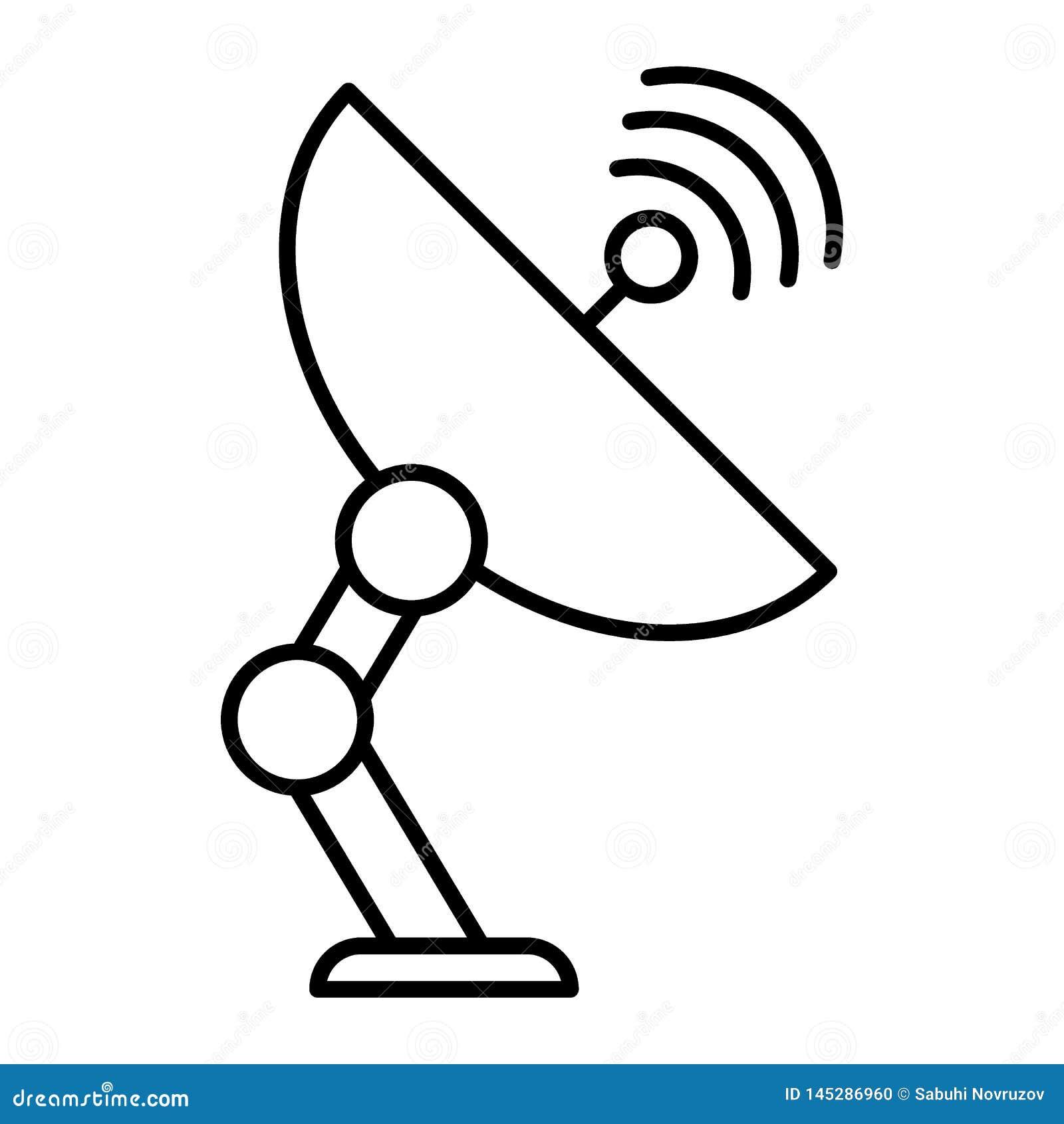 Ligne mince ic?ne d antenne de satellite Illustration de communication d isolement sur le blanc Conception de style d ensemble d
