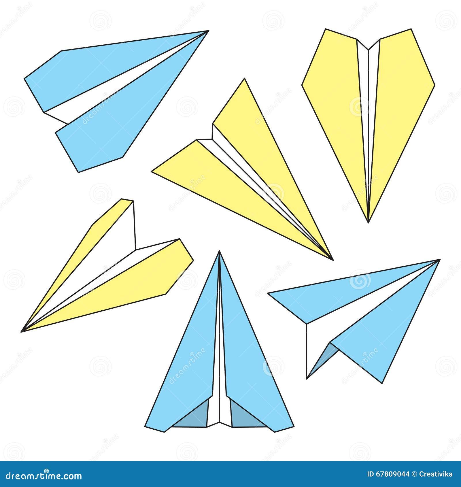 Ligne Mince Plate De Papier Ensemble De Symboles Avions De