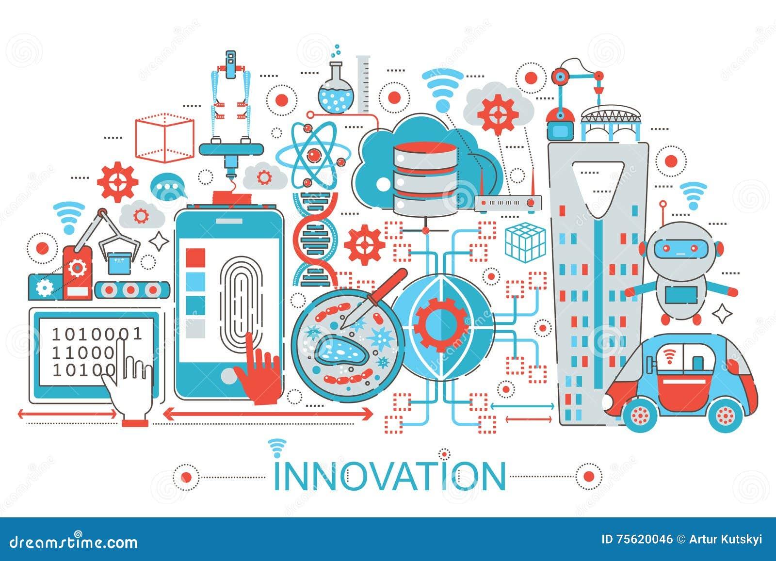 Ligne mince plate moderne concept d innovation de conception pour le site Web, la présentation, l insecte et l affiche de bannièr