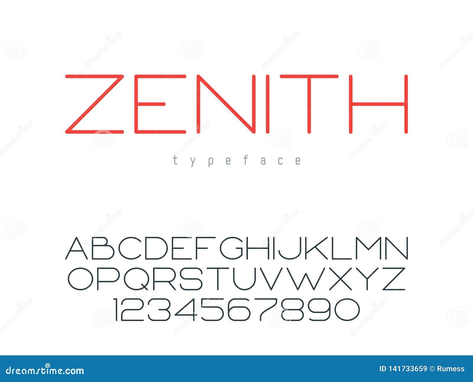 Ligne mince police majuscule de vecteur Lettres et nombres d alphabet latin
