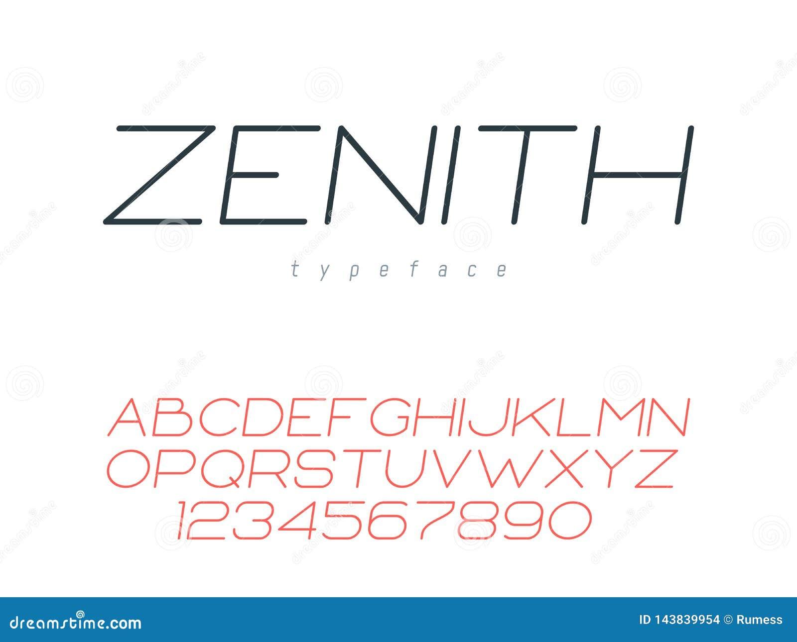 Ligne mince police majuscule Lettres et nombres d alphabet latin Illustration de vecteur