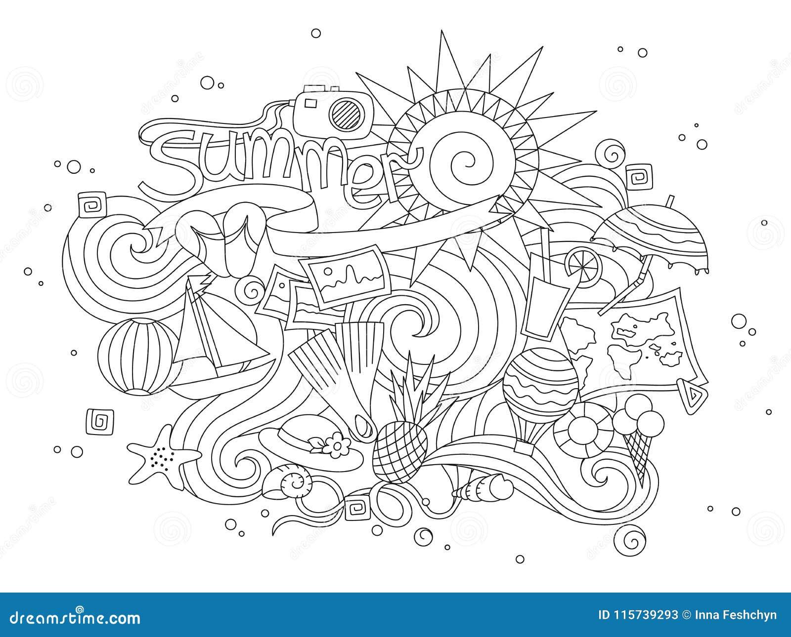 Ligne Mince Tiree Par La Main Noire Livre De Coloriage D Ete D Isolement Sur Le Fond Blanc Salutation Saisonniere Avec L Ete De M Illustration De Vecteur Illustration Du Avec Fond 115739293
