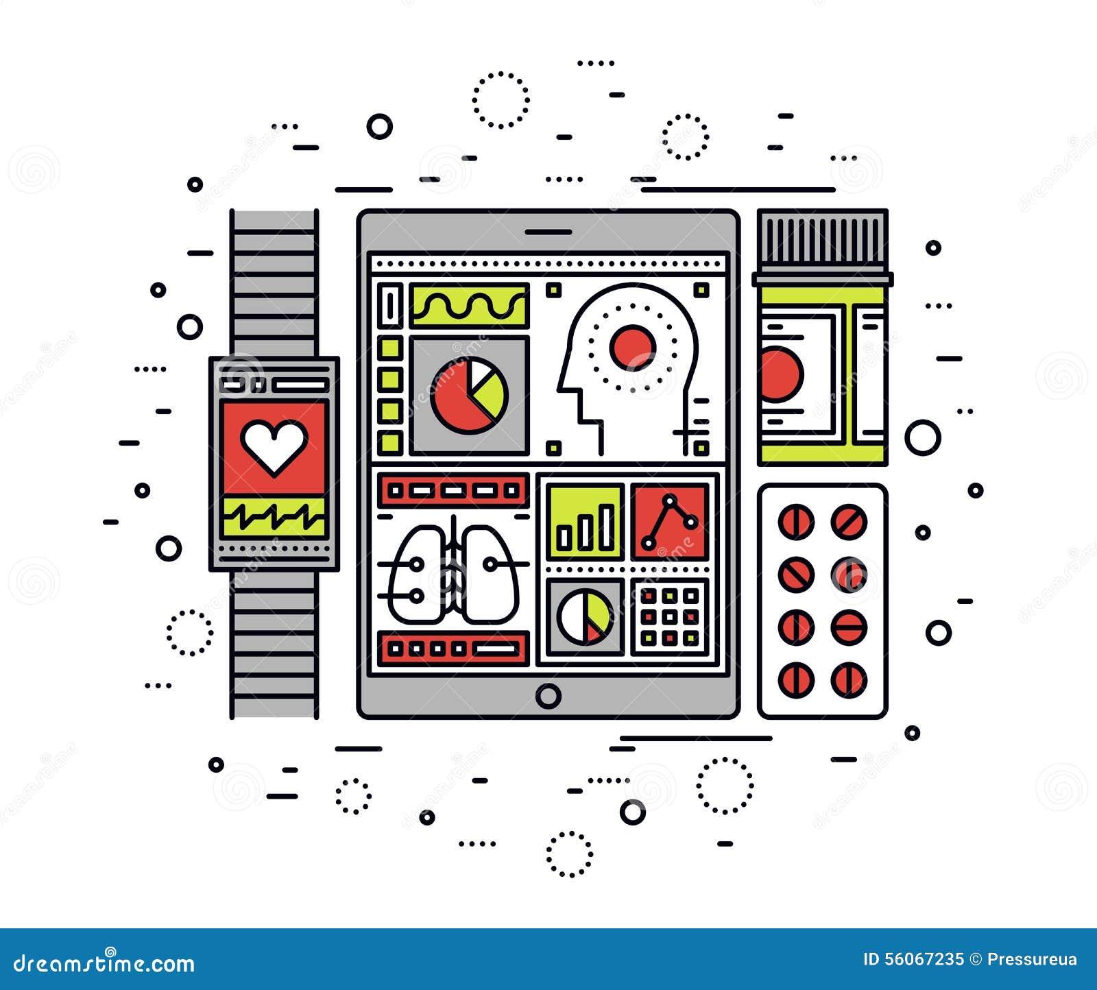 Ligne mobile illustration de contrôle sanitaire de style